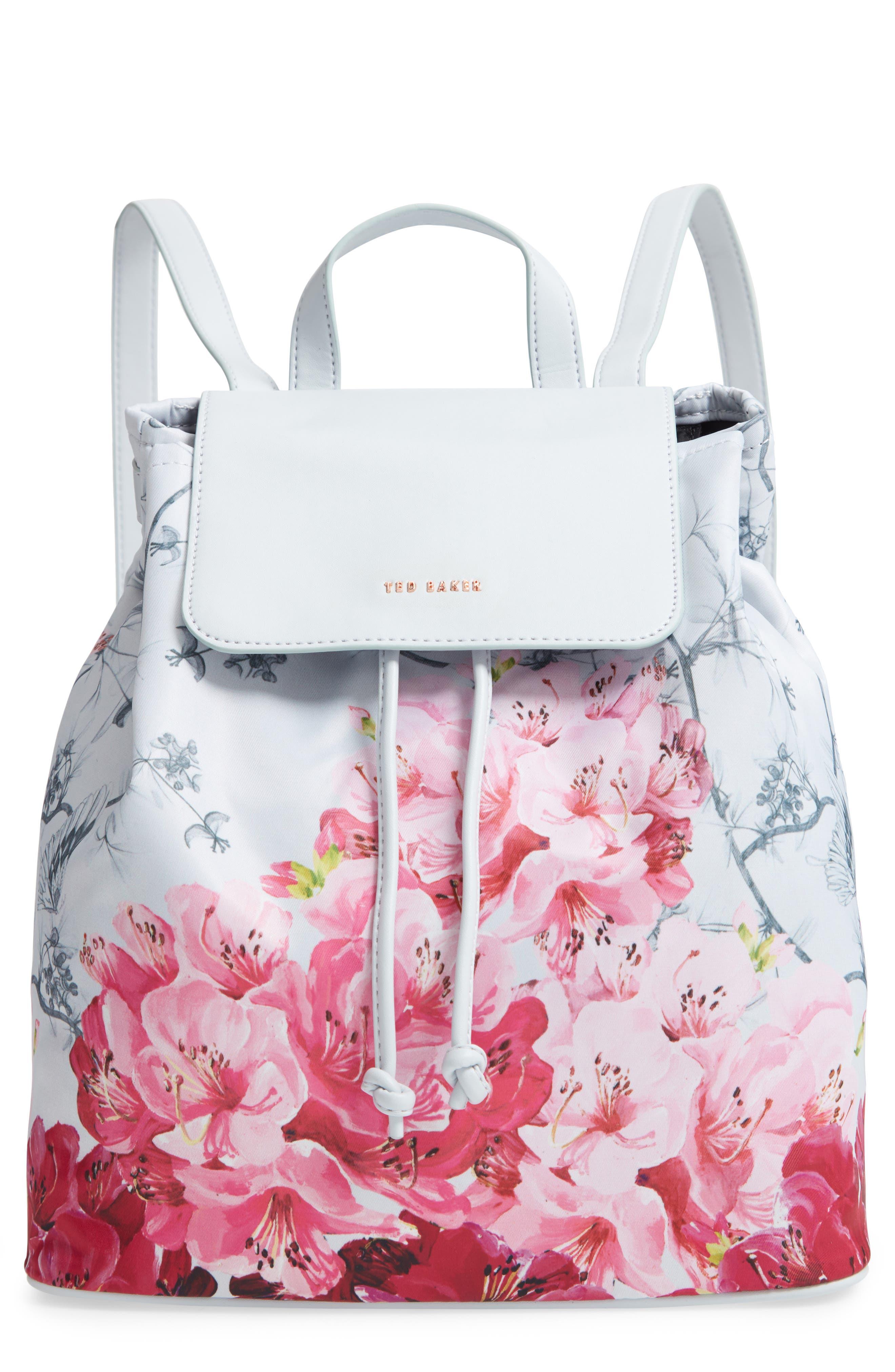 Belisaa Babylon Print Nylon Backpack,                         Main,                         color, GREY