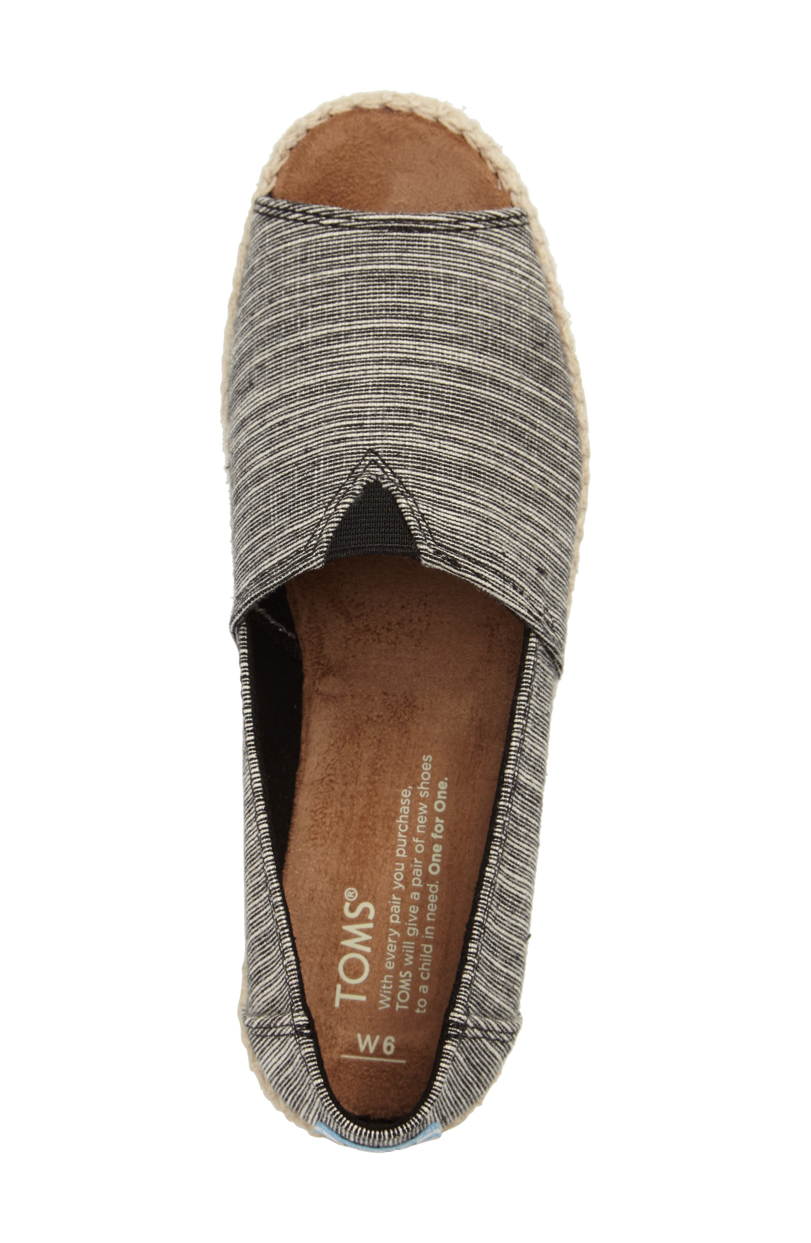 Open Toe Espadrille Slip-On,                             Alternate thumbnail 5, color,                             001