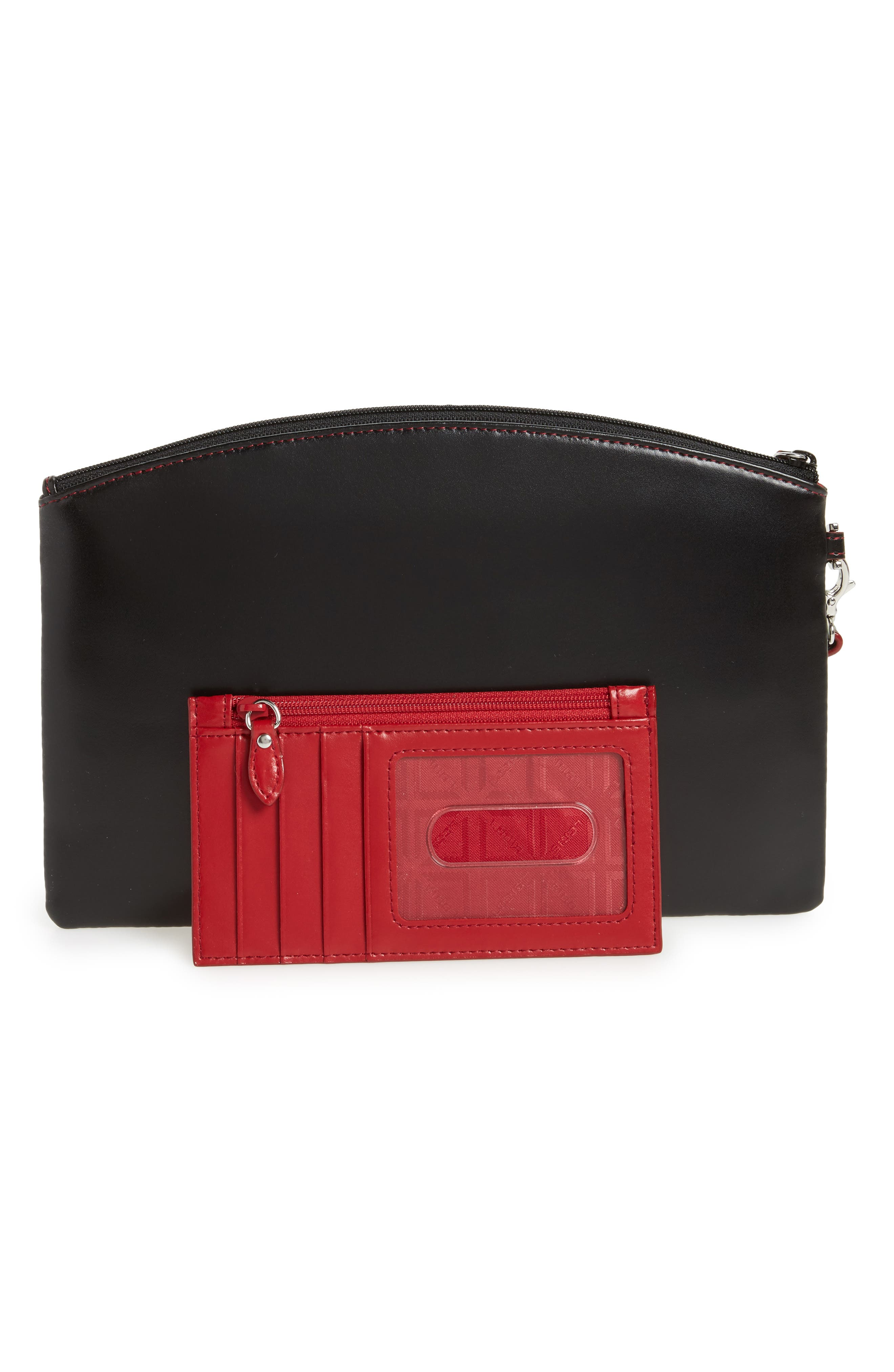 Miley Leather Wristlet & RFID Card Case,                             Alternate thumbnail 3, color,                             001