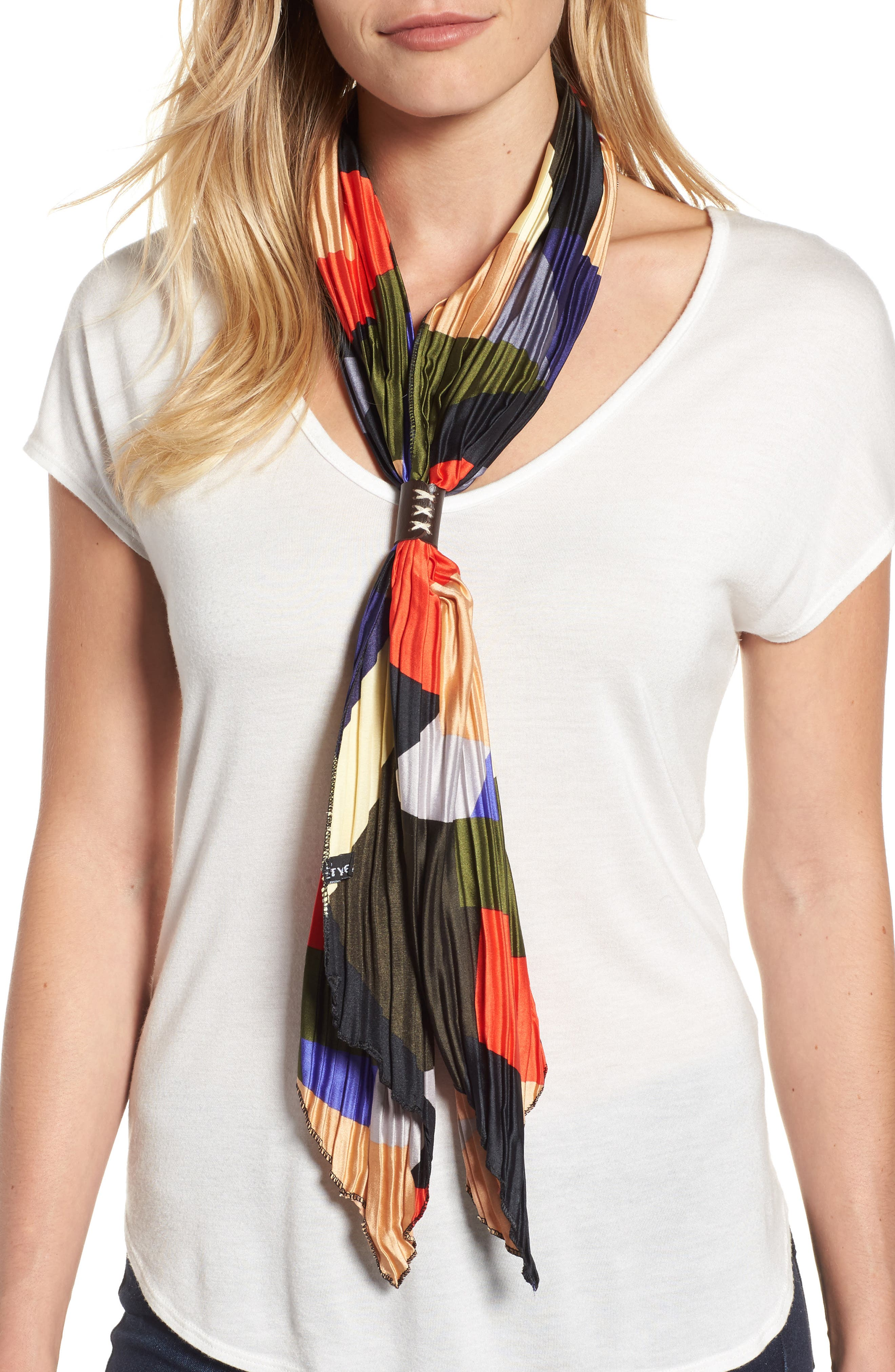 Pleated Skinny Scarf,                             Main thumbnail 1, color,                             001