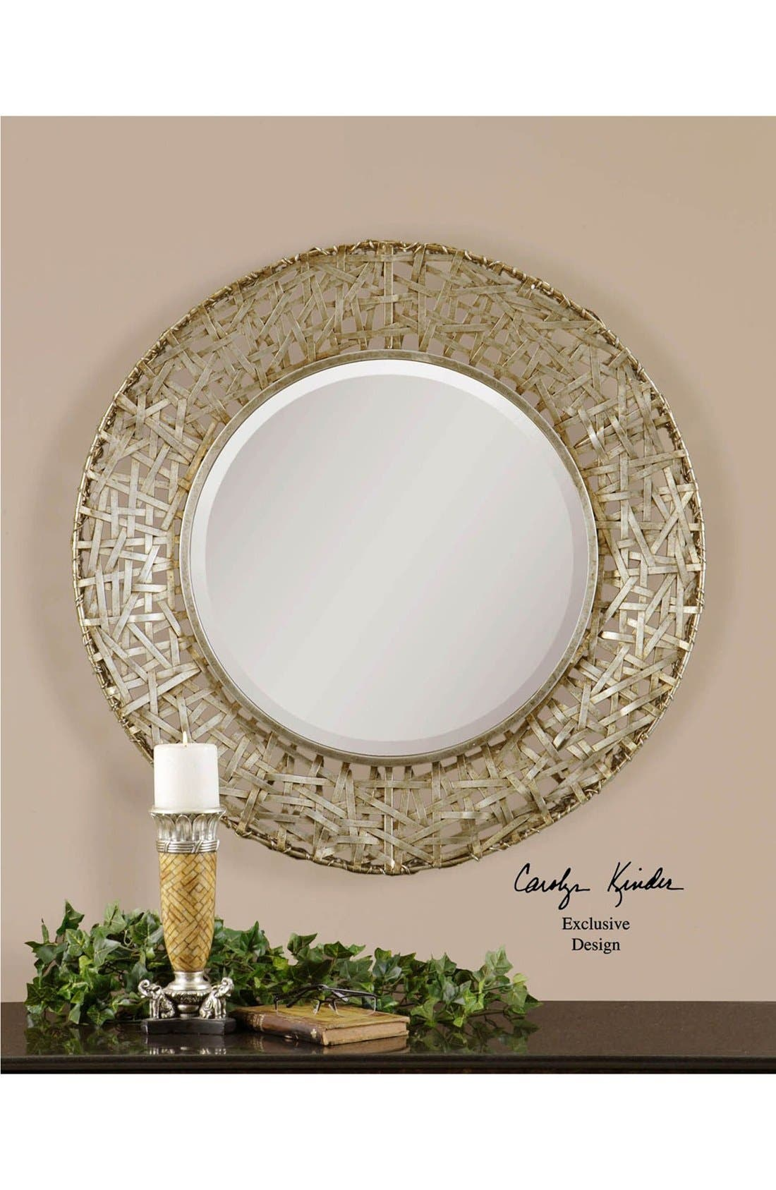 'Alita' Woven Metallic Frame Mirror,                             Alternate thumbnail 5, color,                             020