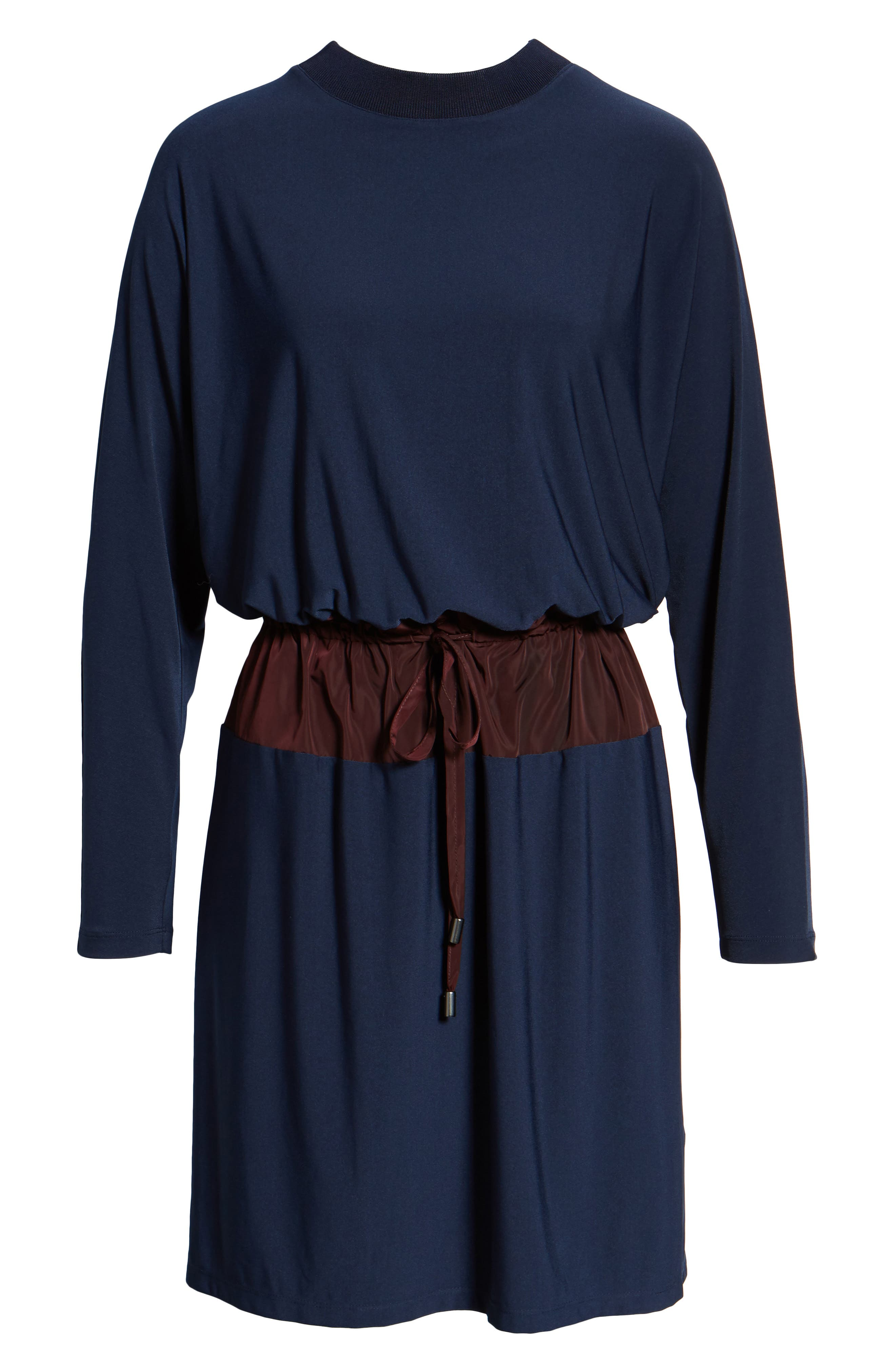 Mixed Media Drawstring Waist Dress,                             Alternate thumbnail 6, color,