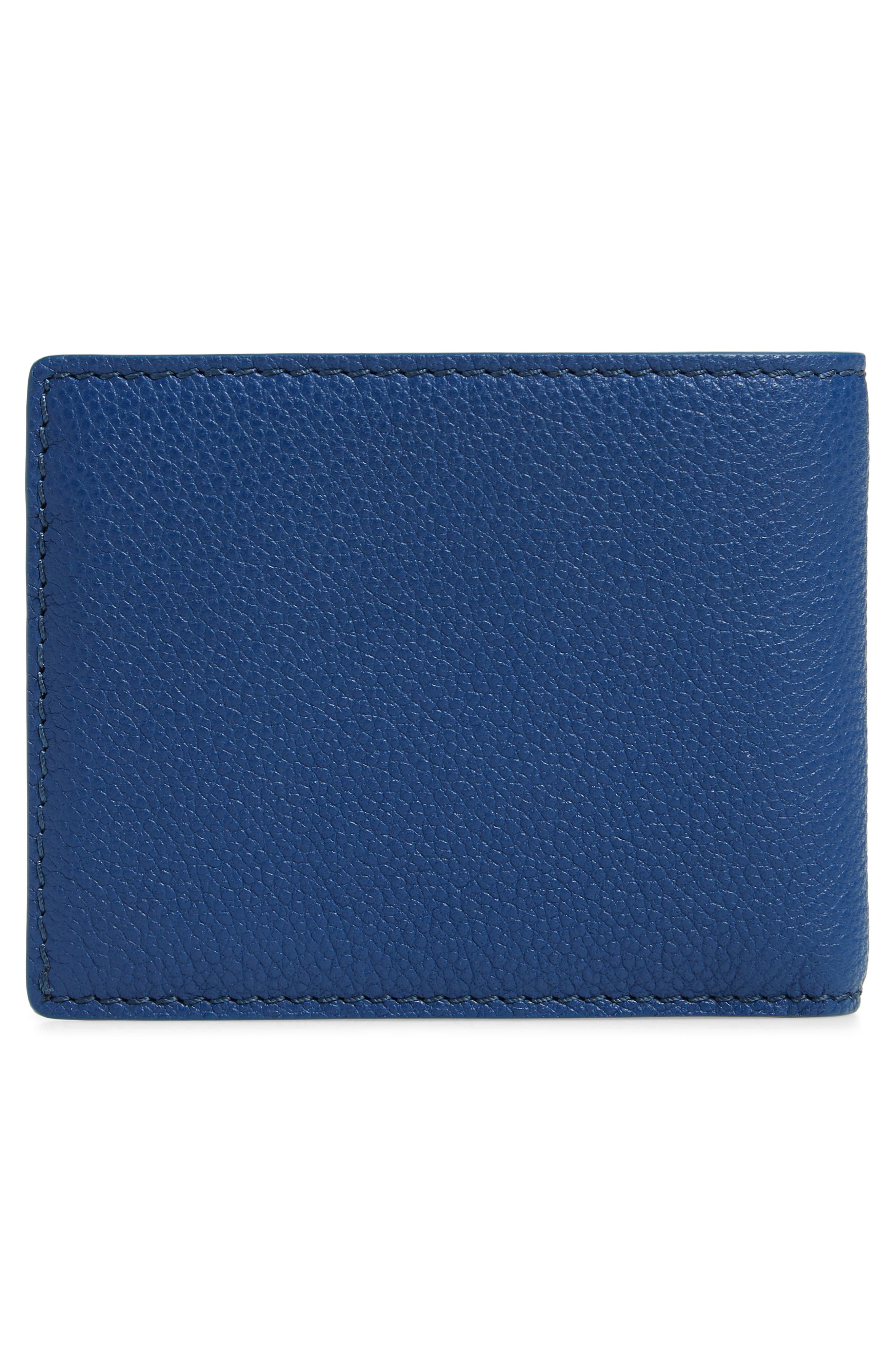 Bifold Leather Wallet,                             Alternate thumbnail 3, color,                             BRIGHT ULTRAMARINE