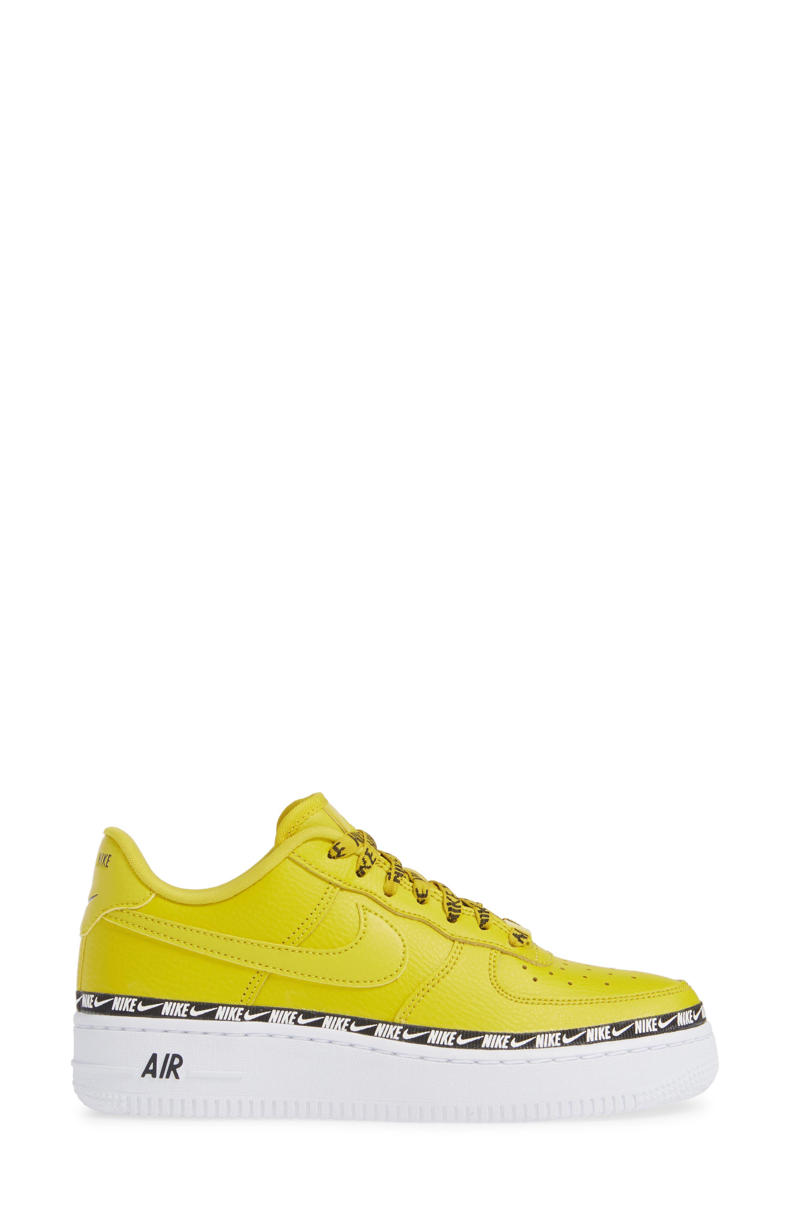 Air Force 1 '07 SE Premium Sneaker,                             Alternate thumbnail 3, color,                             BRIGHT CITRON/ BLACK/ WHITE