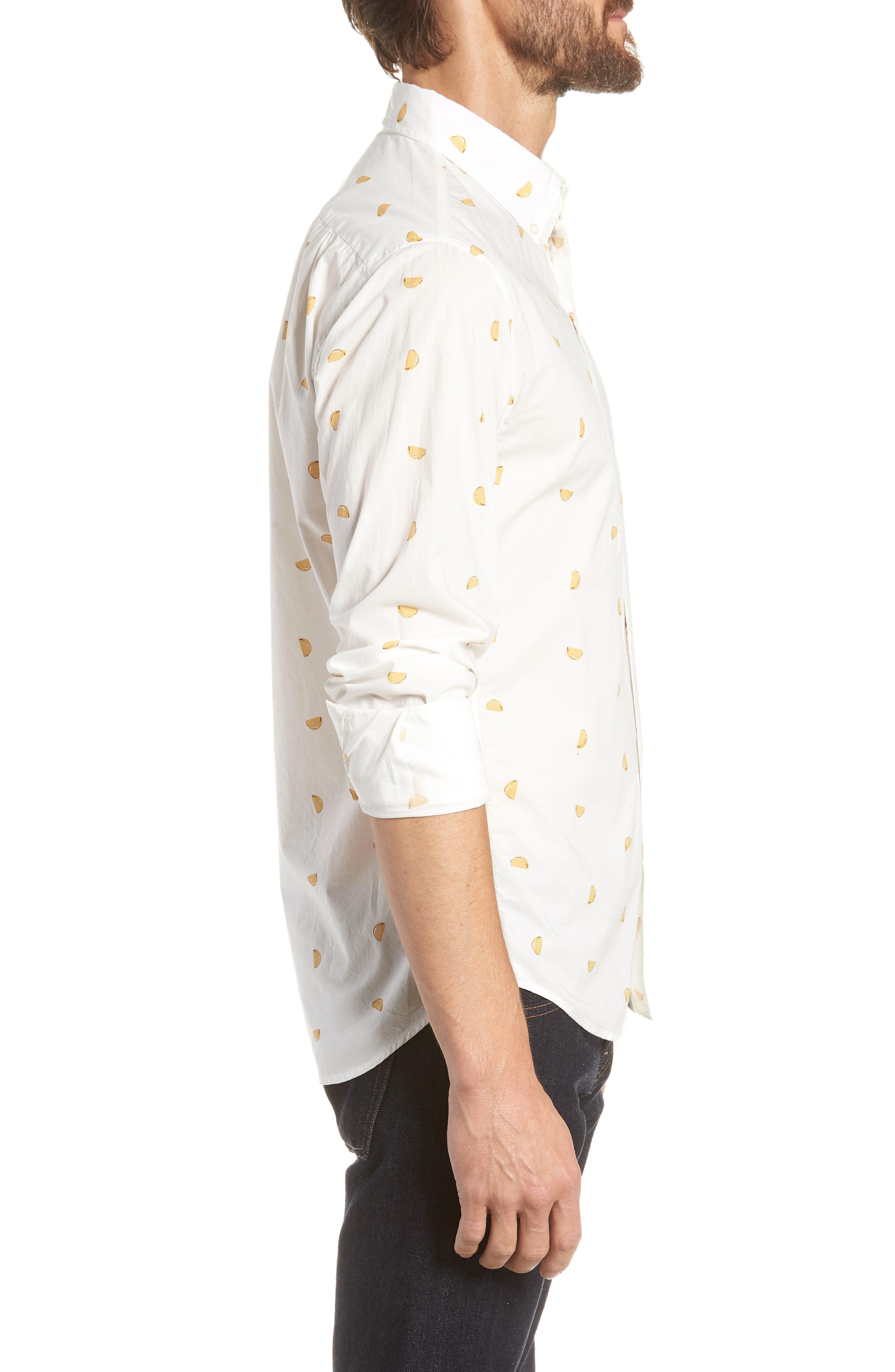 Summerweight Slim Fit Taco Print Sport Shirt,                             Alternate thumbnail 3, color,                             100