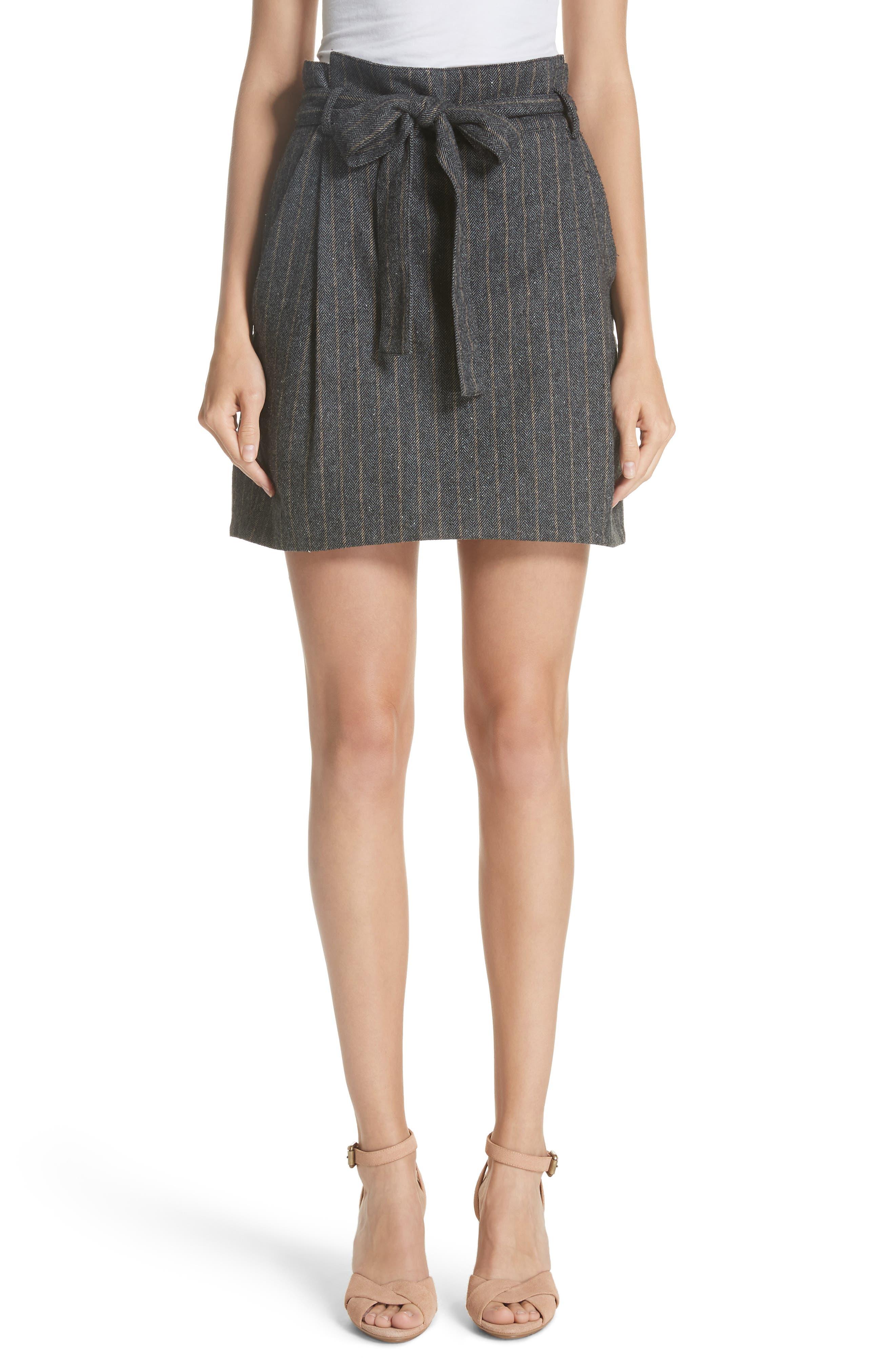 Leo Paperbag Waist Wool & Silk Blend Skirt,                         Main,                         color, ASH