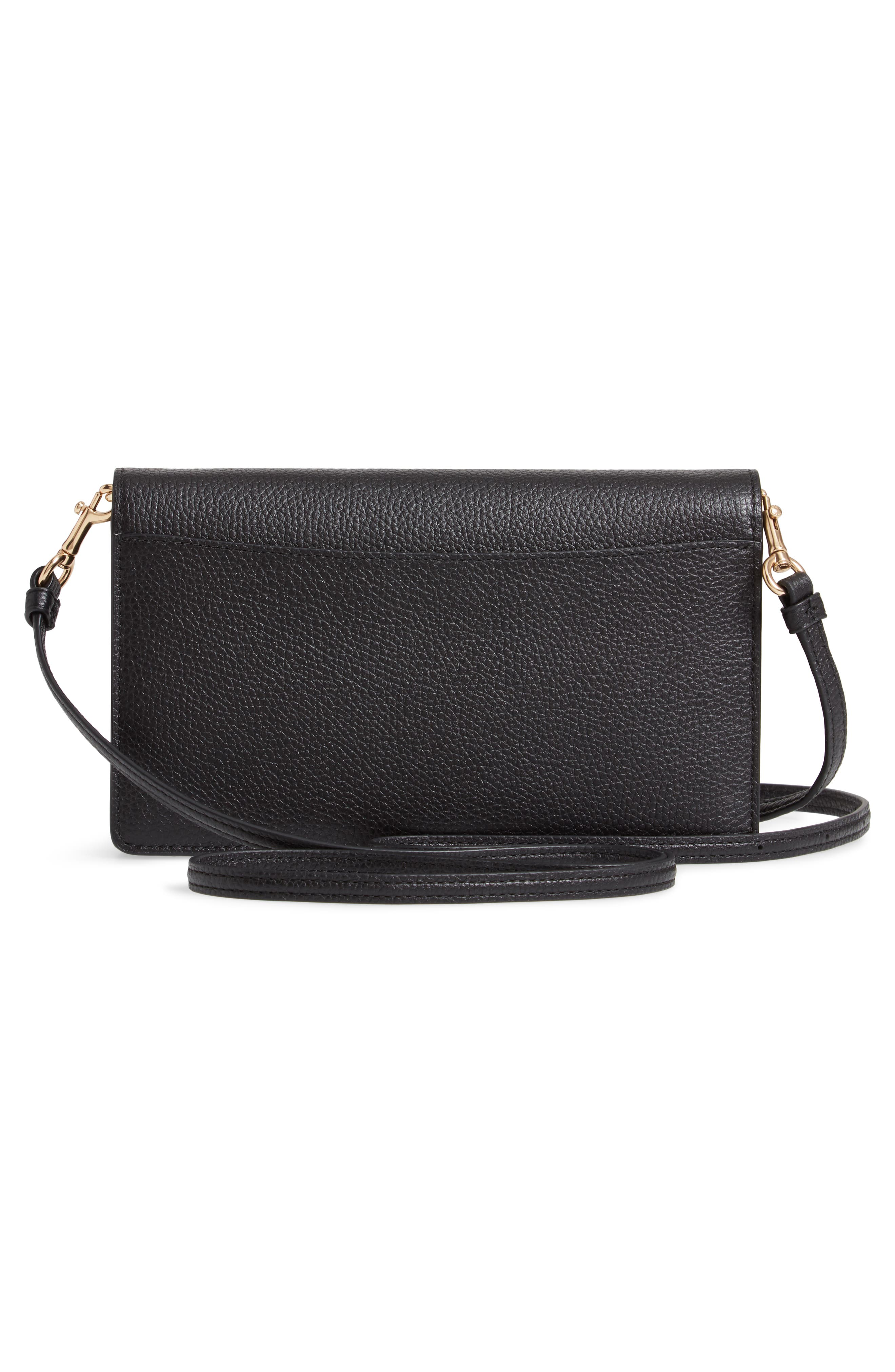 COACH,                             Foldover Calfskin Leather Convertible Clutch,                             Alternate thumbnail 3, color,                             LI/ BLACK
