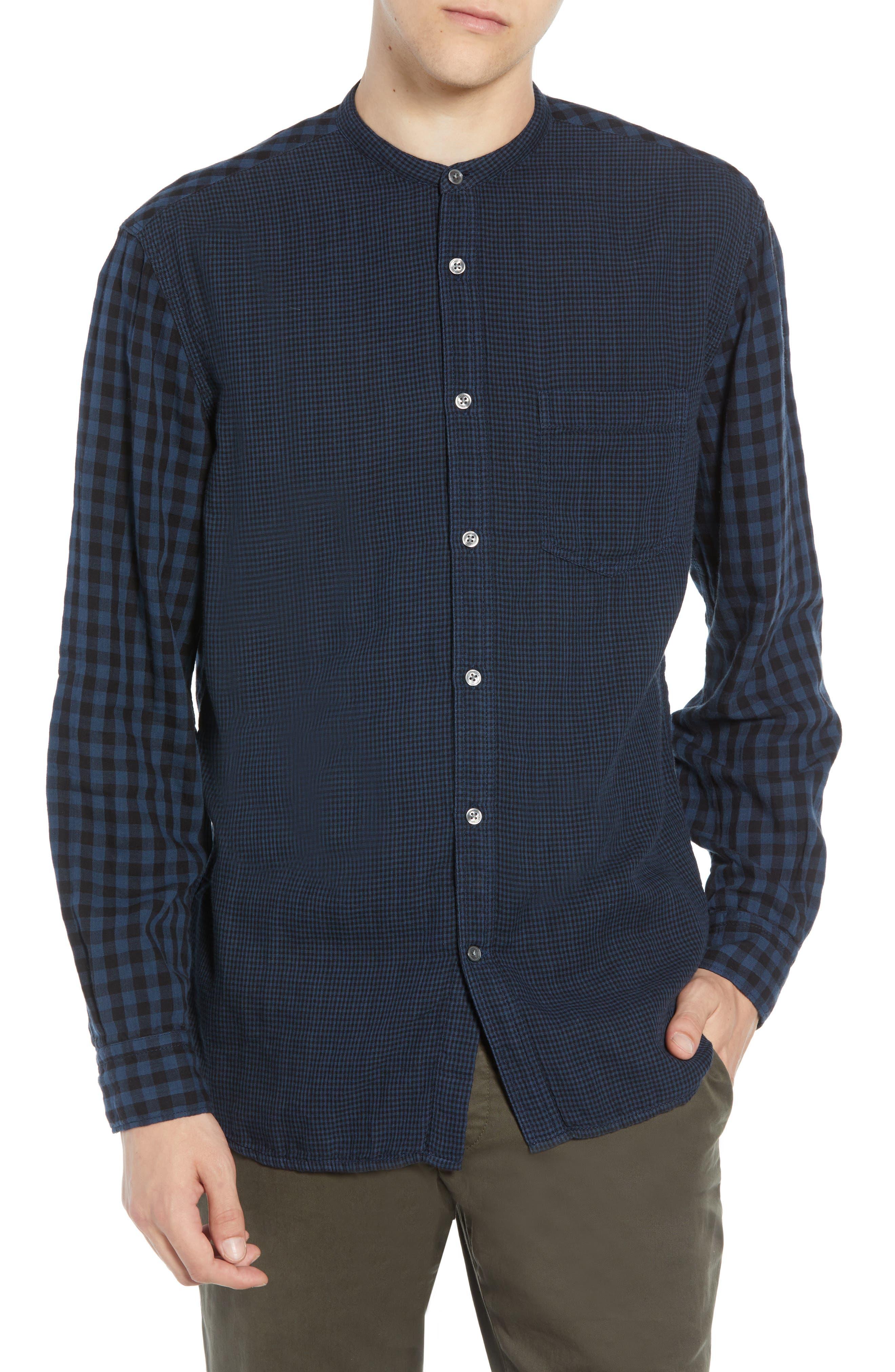 Double Gingham Shirt,                         Main,                         color, BLACK IRIS