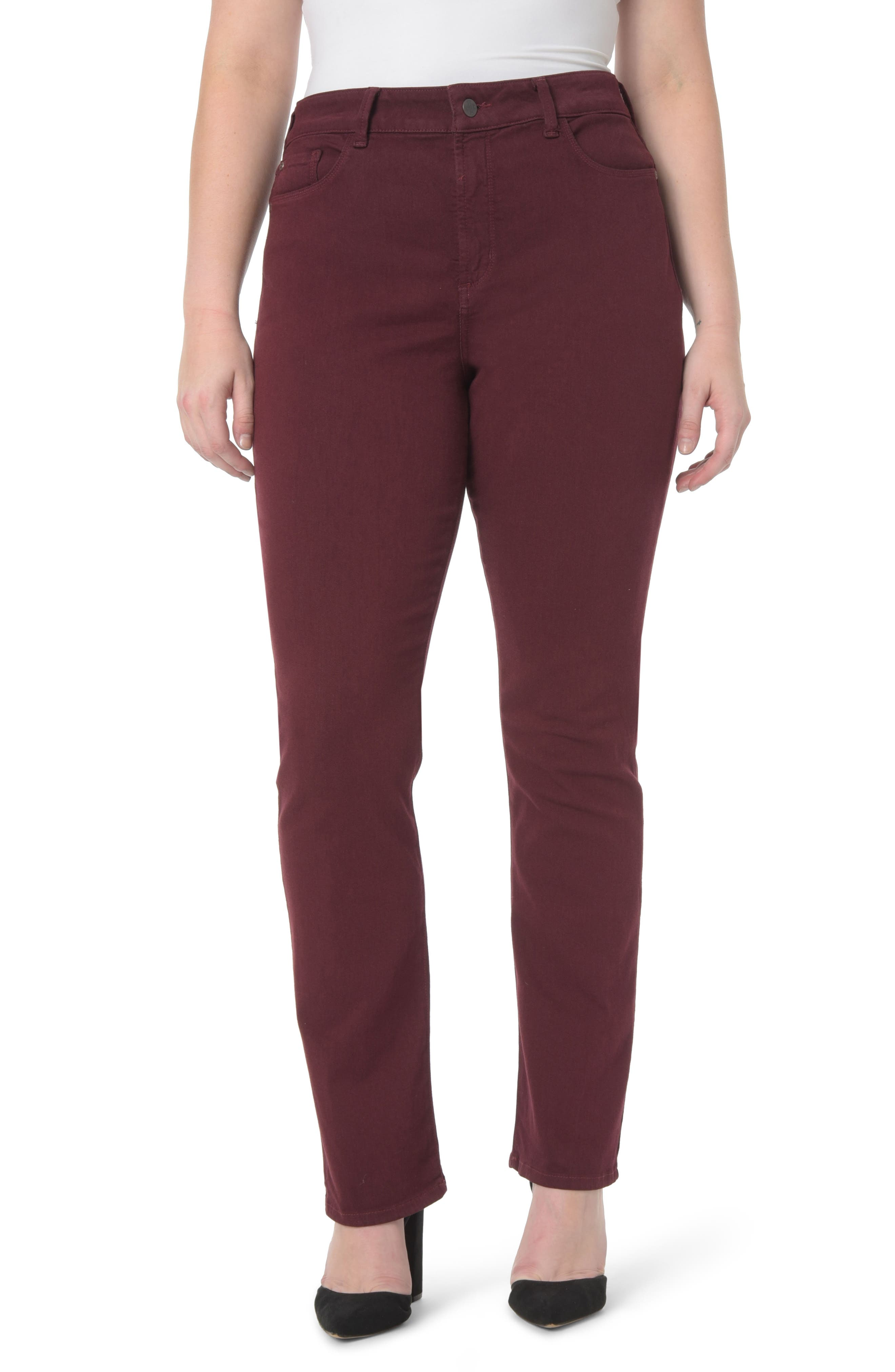 Stretch Knit Straight Leg Trousers,                             Alternate thumbnail 3, color,                             CHARCOAL