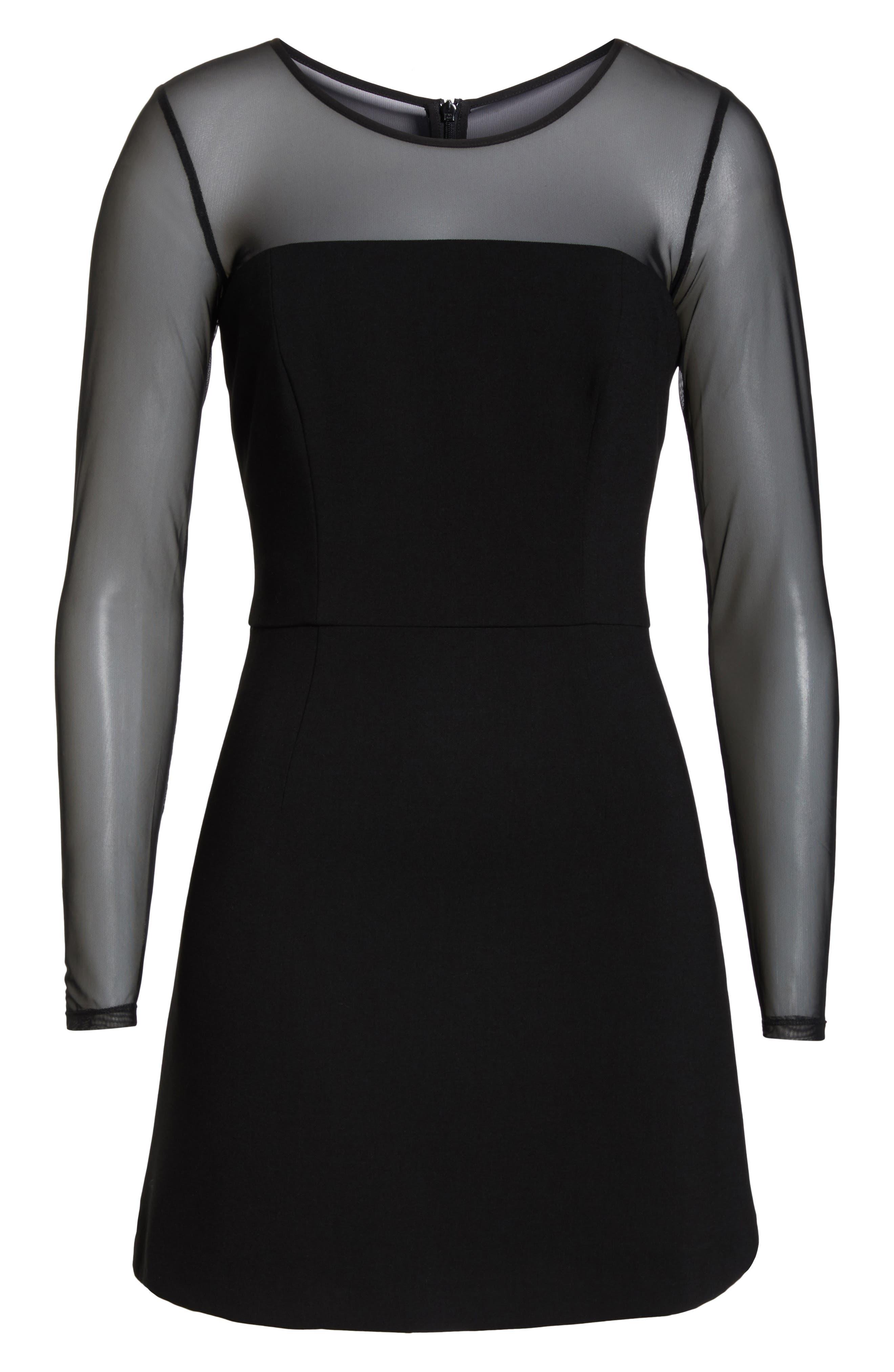 FRENCH CONNECTION,                             Whisper Light Mesh Sleeve Dress,                             Alternate thumbnail 6, color,                             BLACK