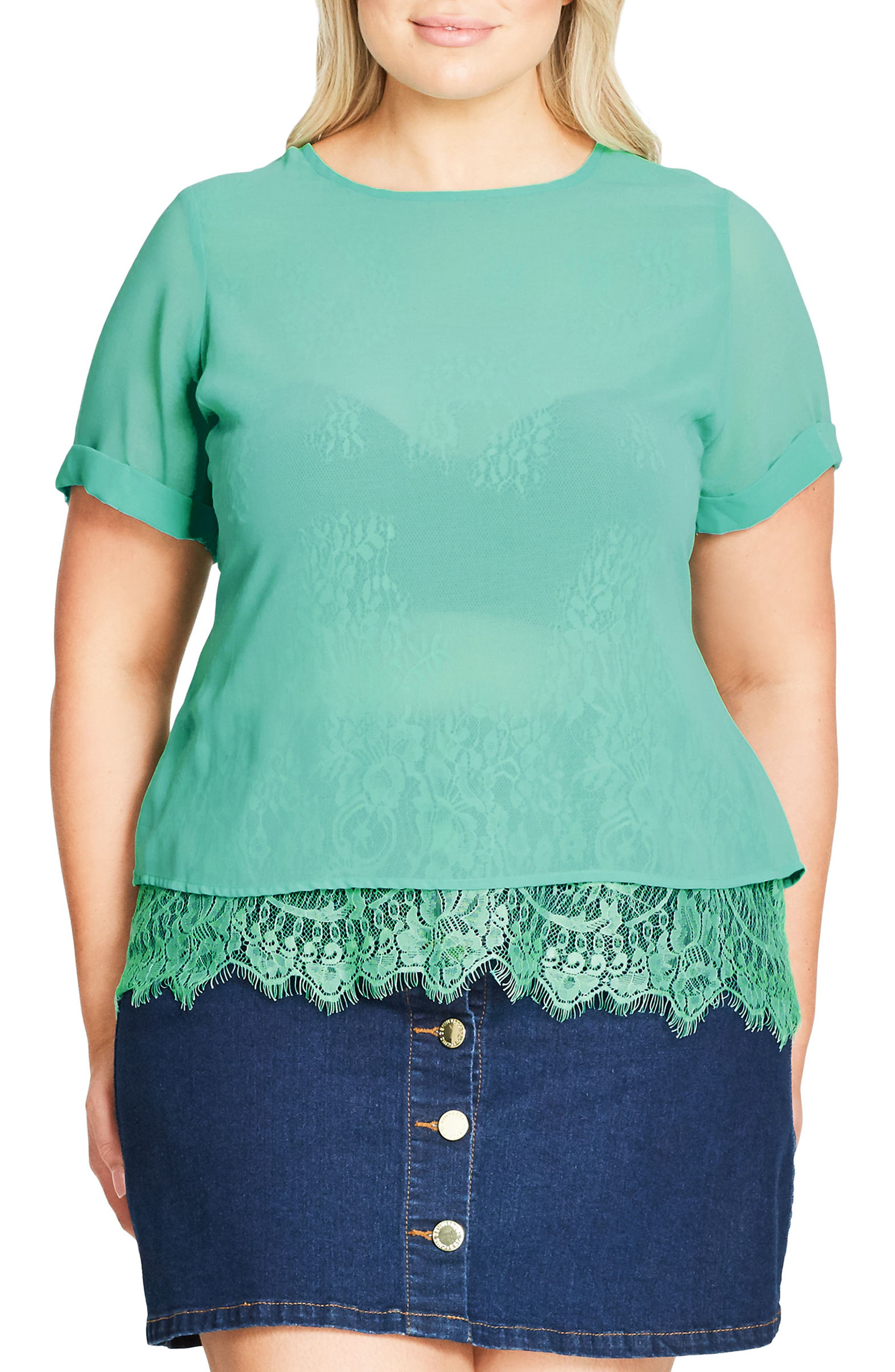 Lace Scallop Top,                         Main,                         color, 300
