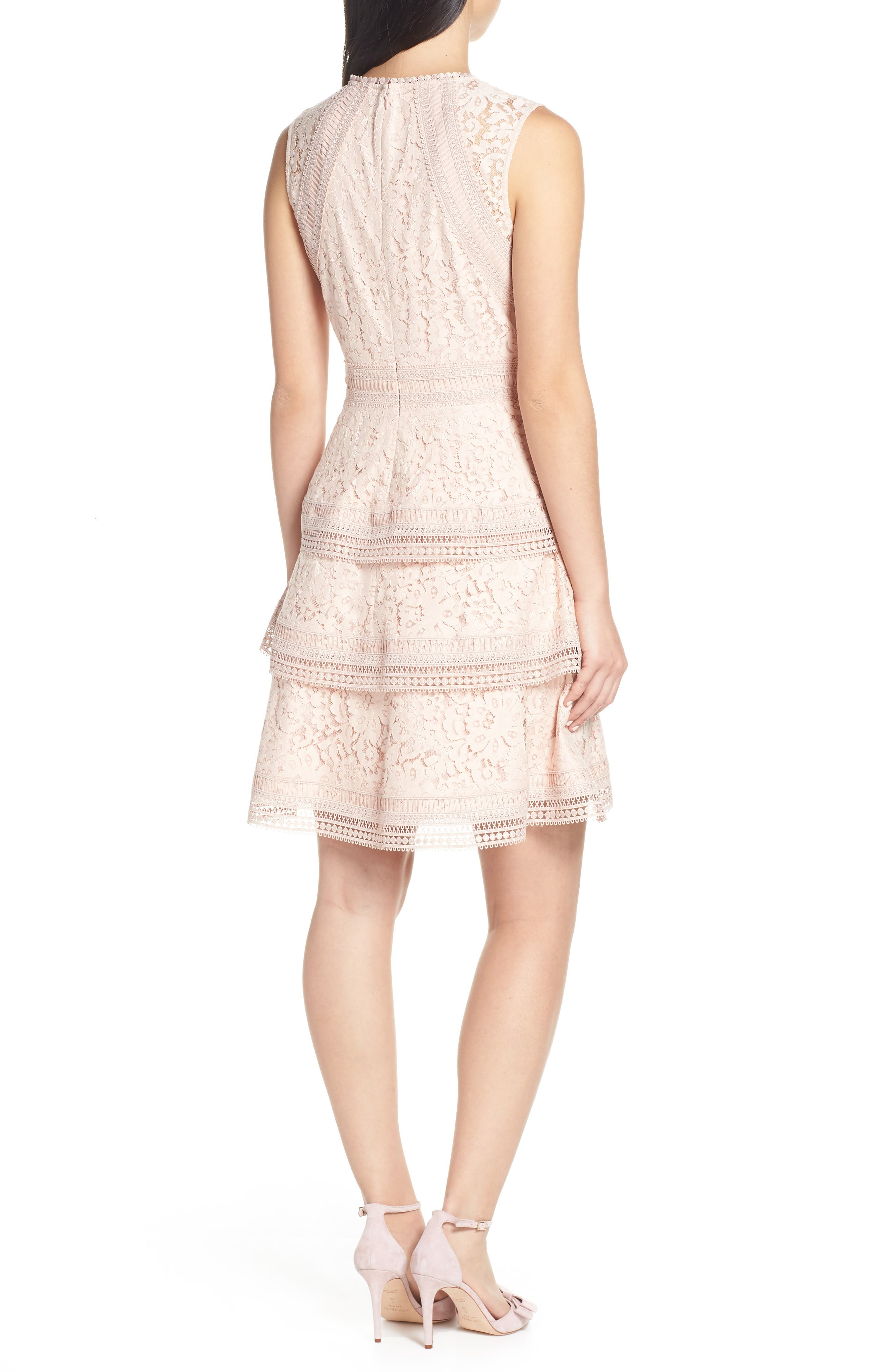 ELIZA J,                             Lace Fit & Flare Dress,                             Alternate thumbnail 2, color,                             BLUSH