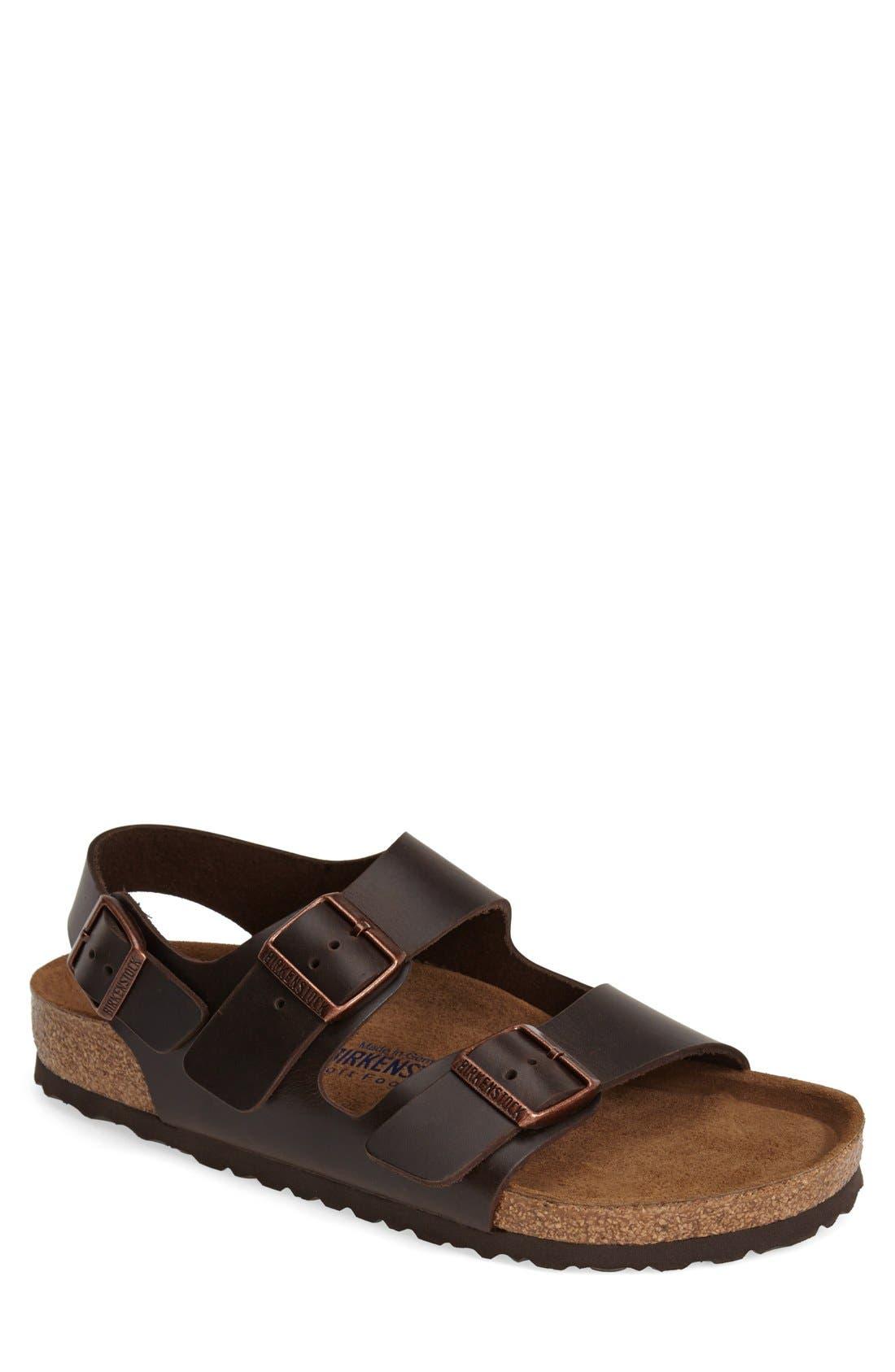 'Milano' Soft Footbed Sandal,                             Main thumbnail 1, color,                             AMALFI BROWN