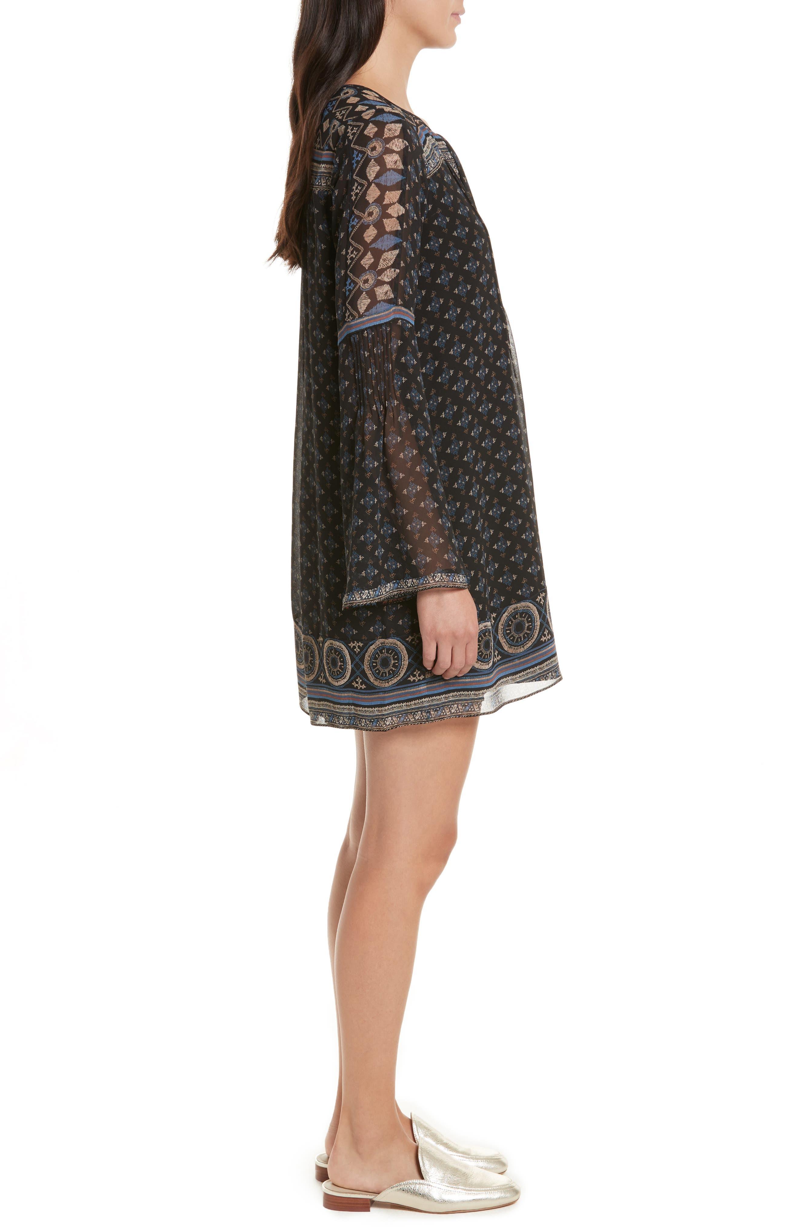 Sheyla Print Silk Shift Dress,                             Alternate thumbnail 3, color,                             004