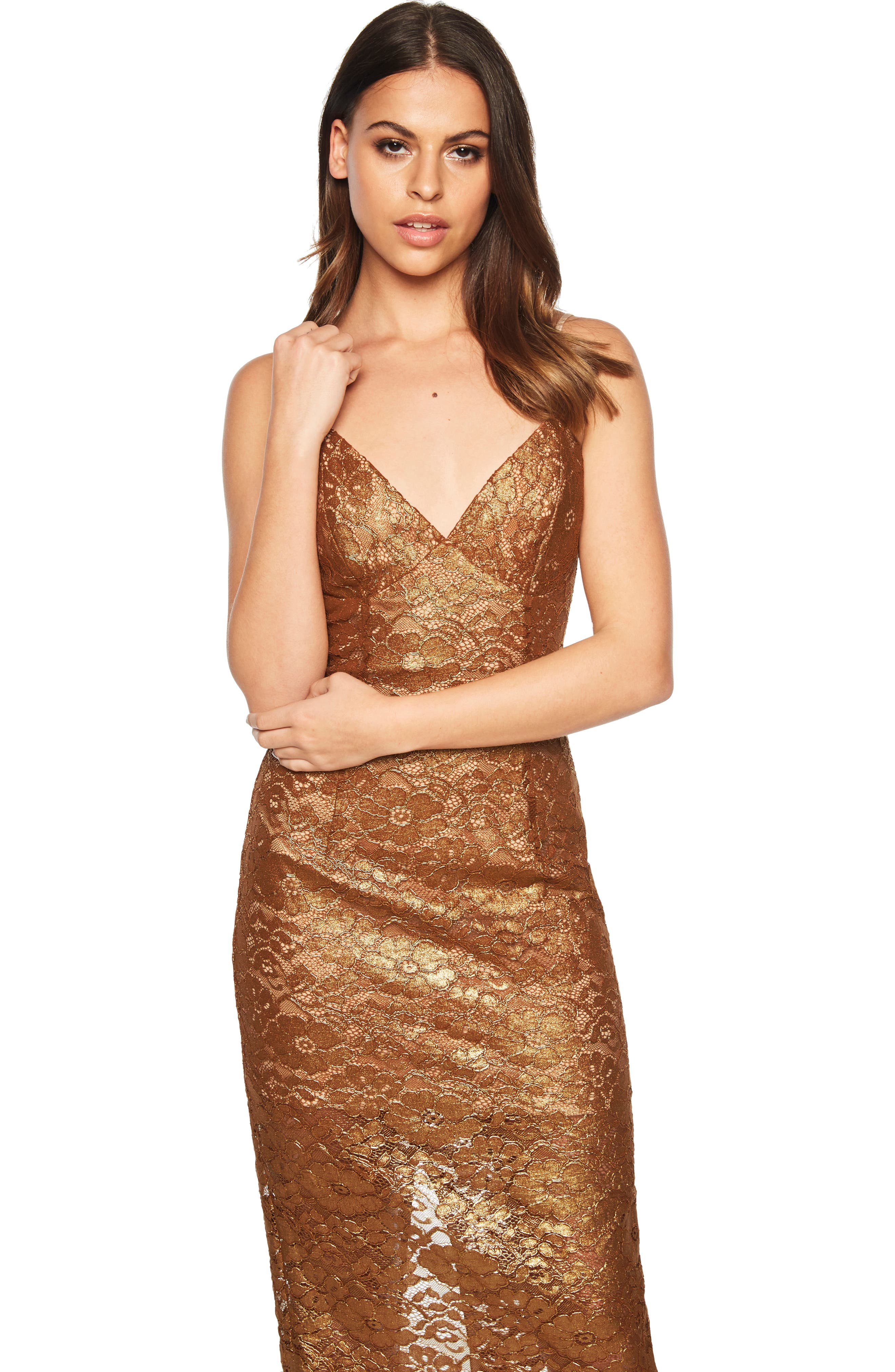 Metallic Lace Midi Sheath Dress,                             Alternate thumbnail 7, color,                             SOFT GOLD