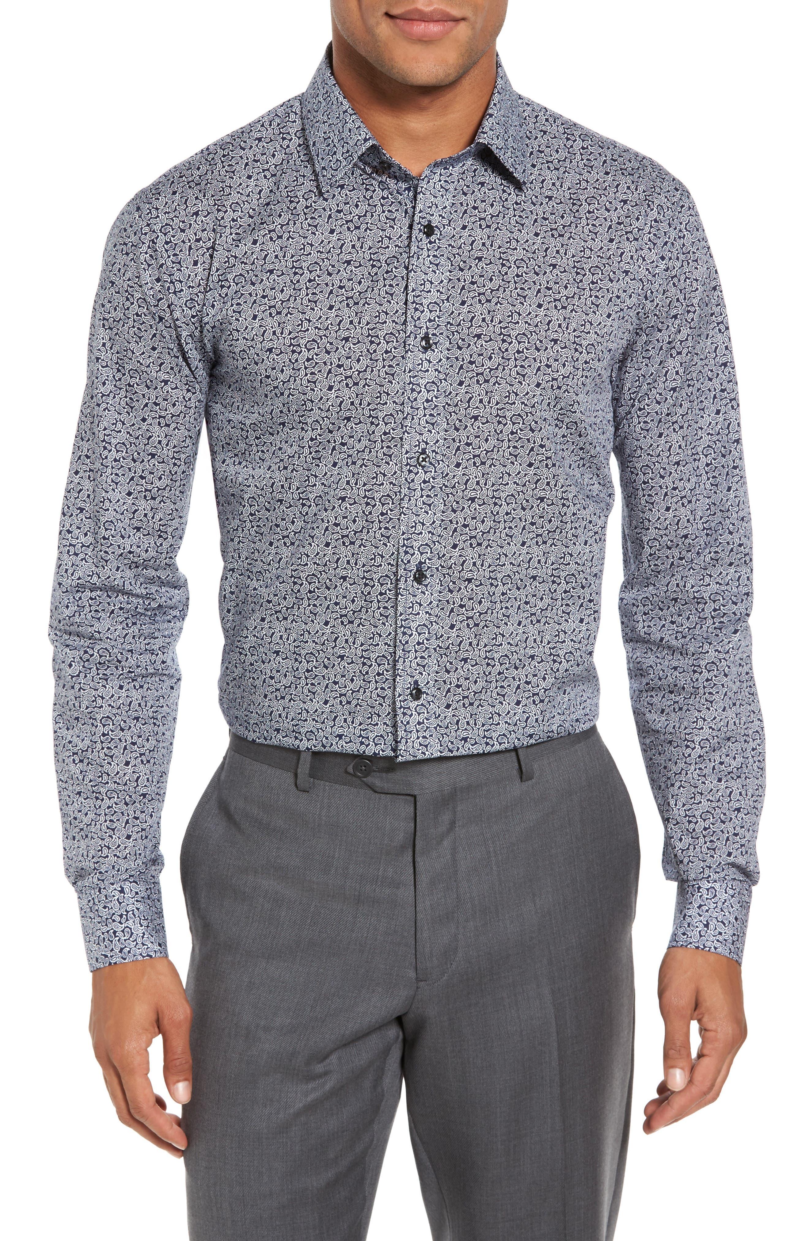 Trim Fit Paisley Dress Shirt,                             Main thumbnail 1, color,                             410