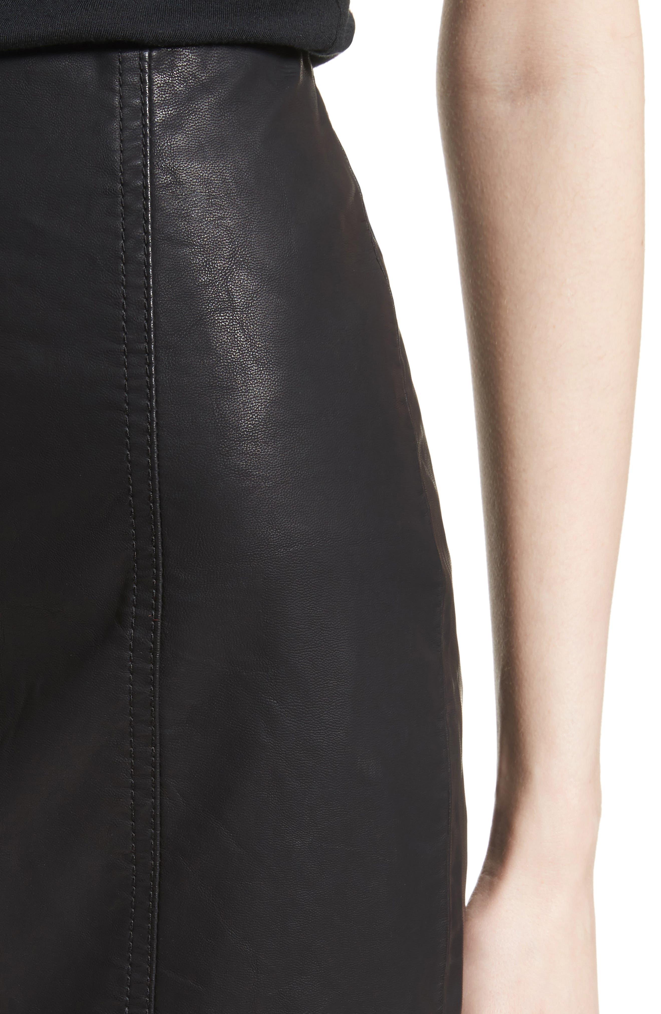 Modern Femme Faux Leather Miniskirt,                             Alternate thumbnail 4, color,                             BLACK