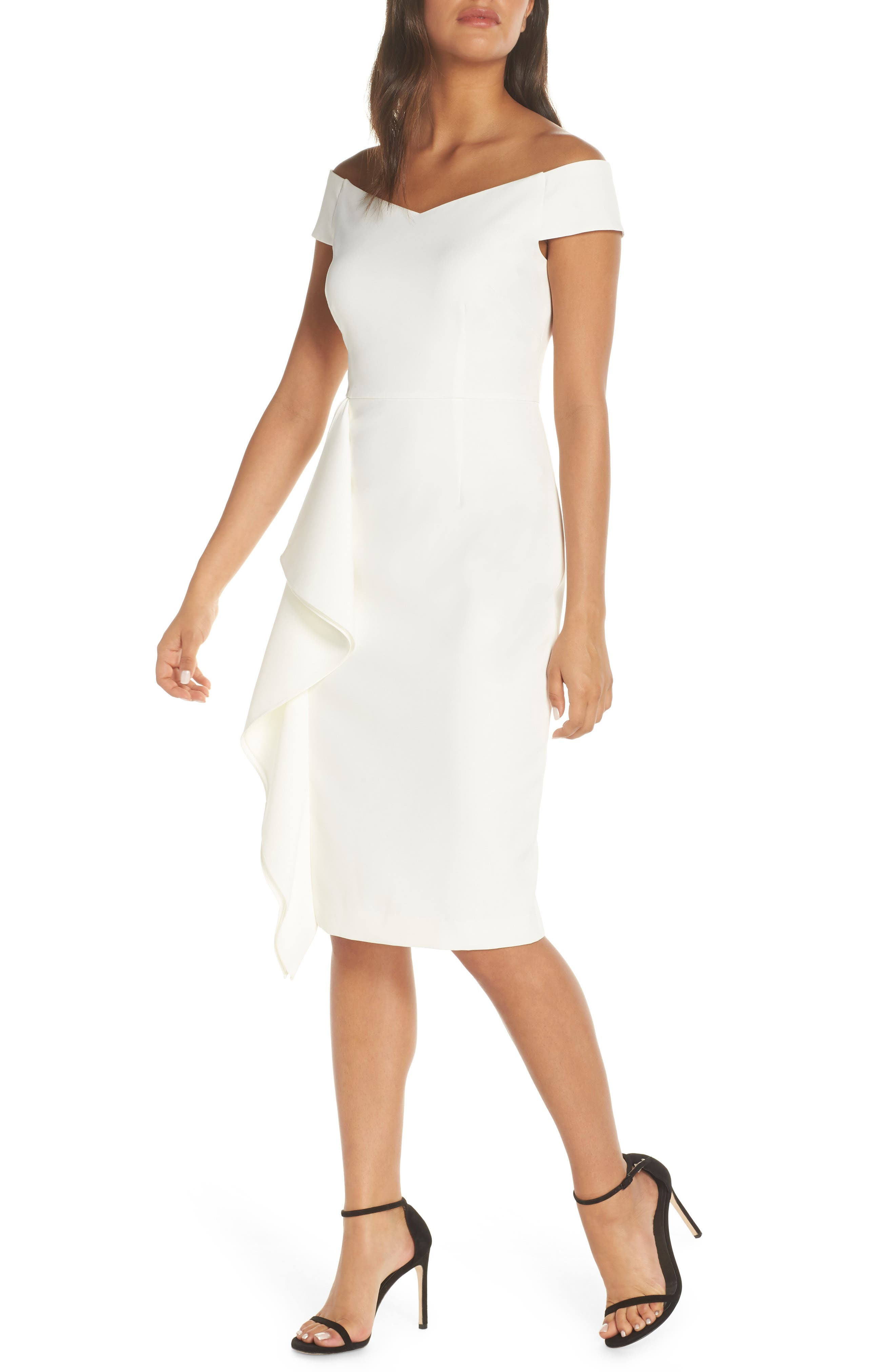 Vince Camuto Off The Shoulder Front Ruffle Cocktail Dress