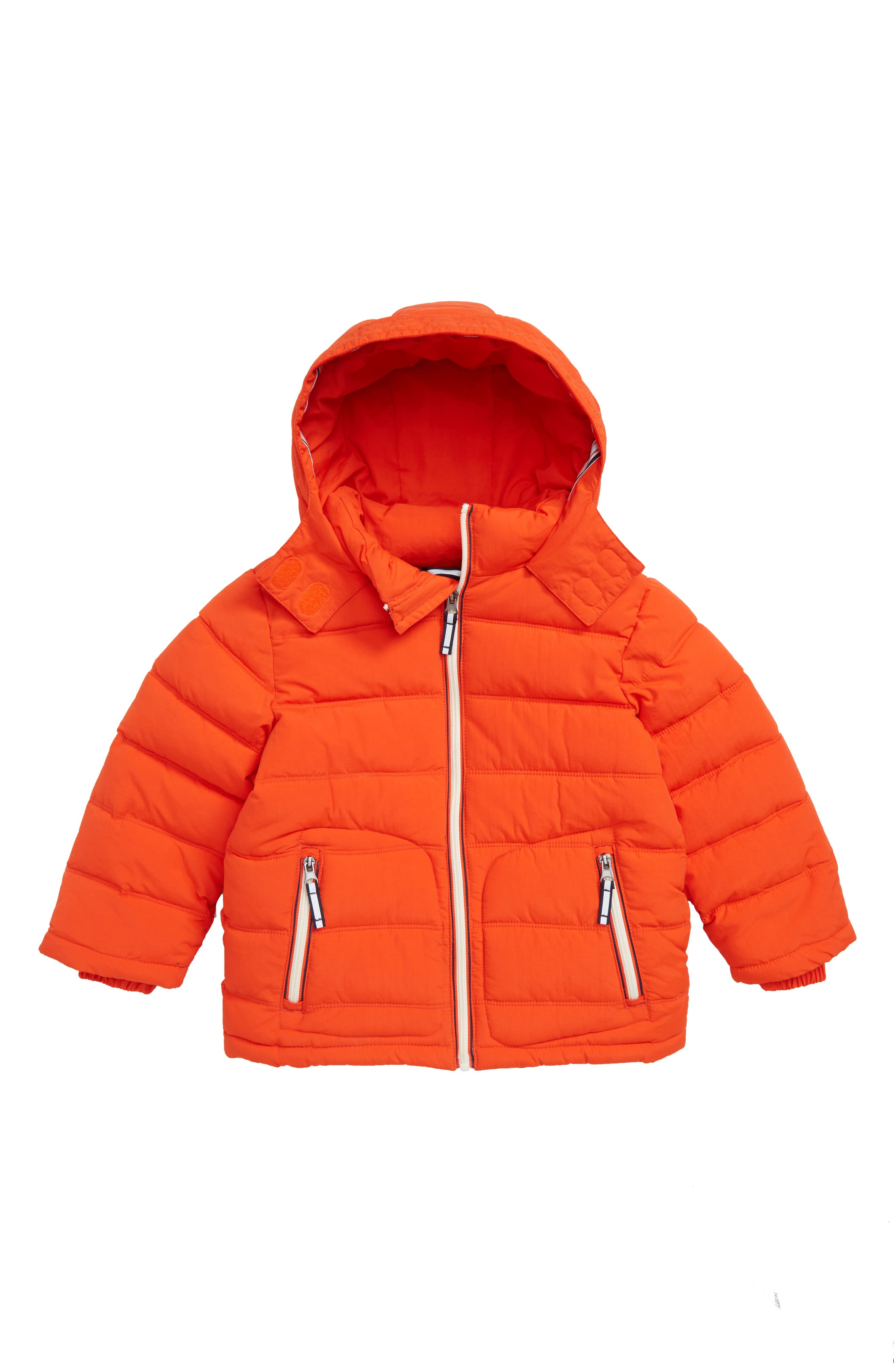 Padded Hooded Jacket,                         Main,                         color, ROCKET RED