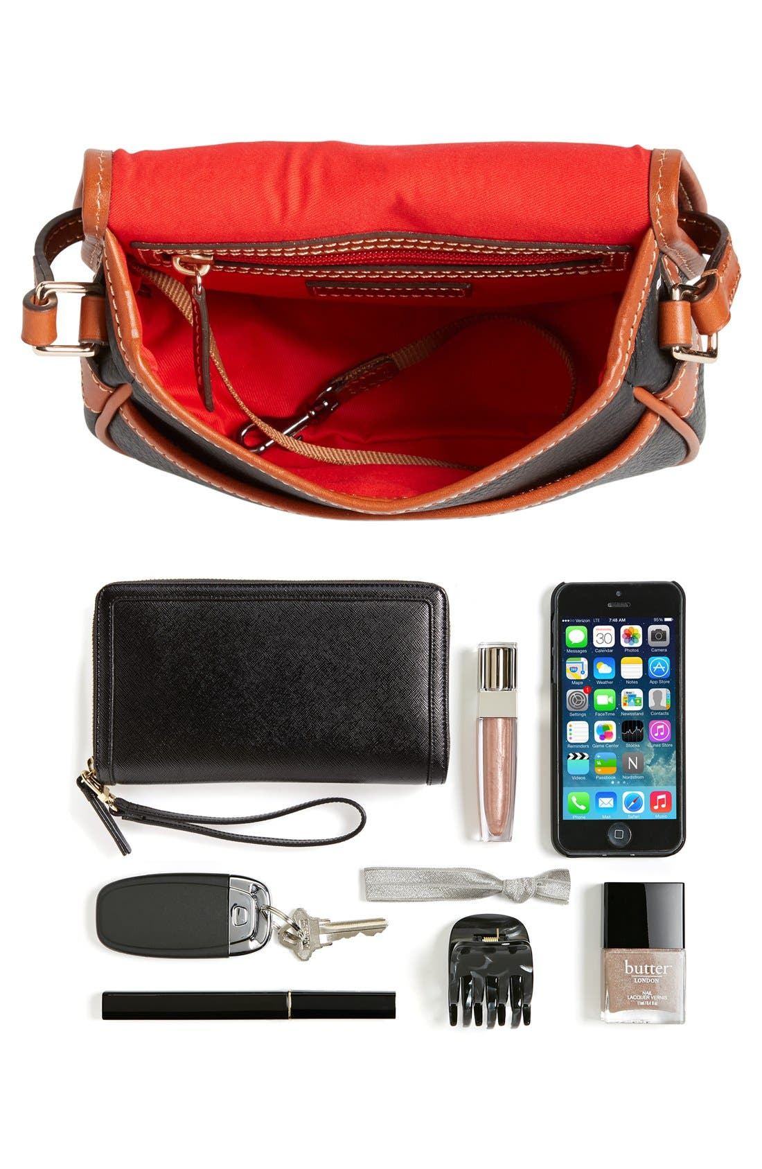 'Hallie' Leather Crossbody Bag,                             Alternate thumbnail 6, color,                             001