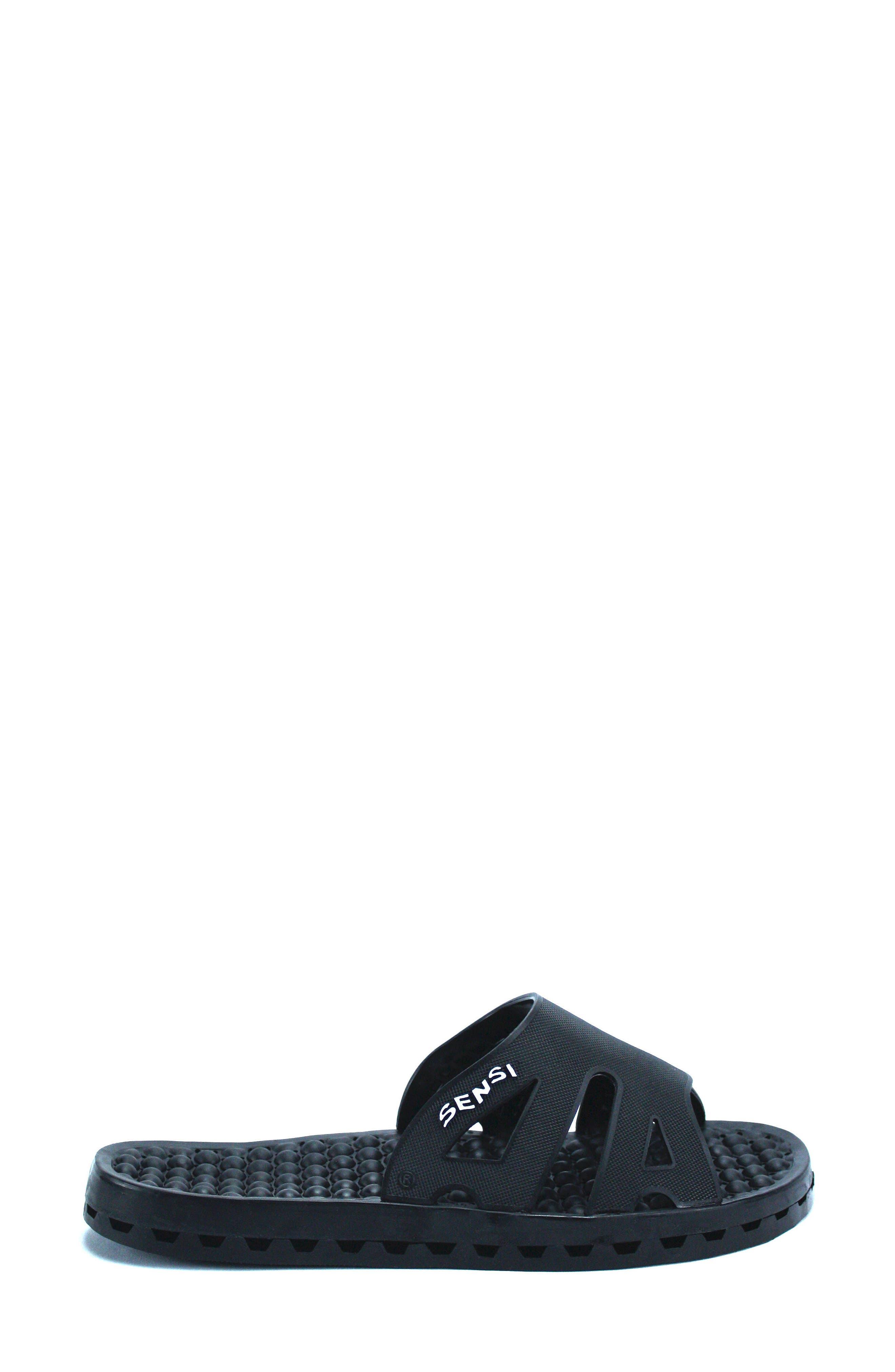 Regatta Ice Slide Sandal,                             Alternate thumbnail 3, color,                             SOLID BLACK