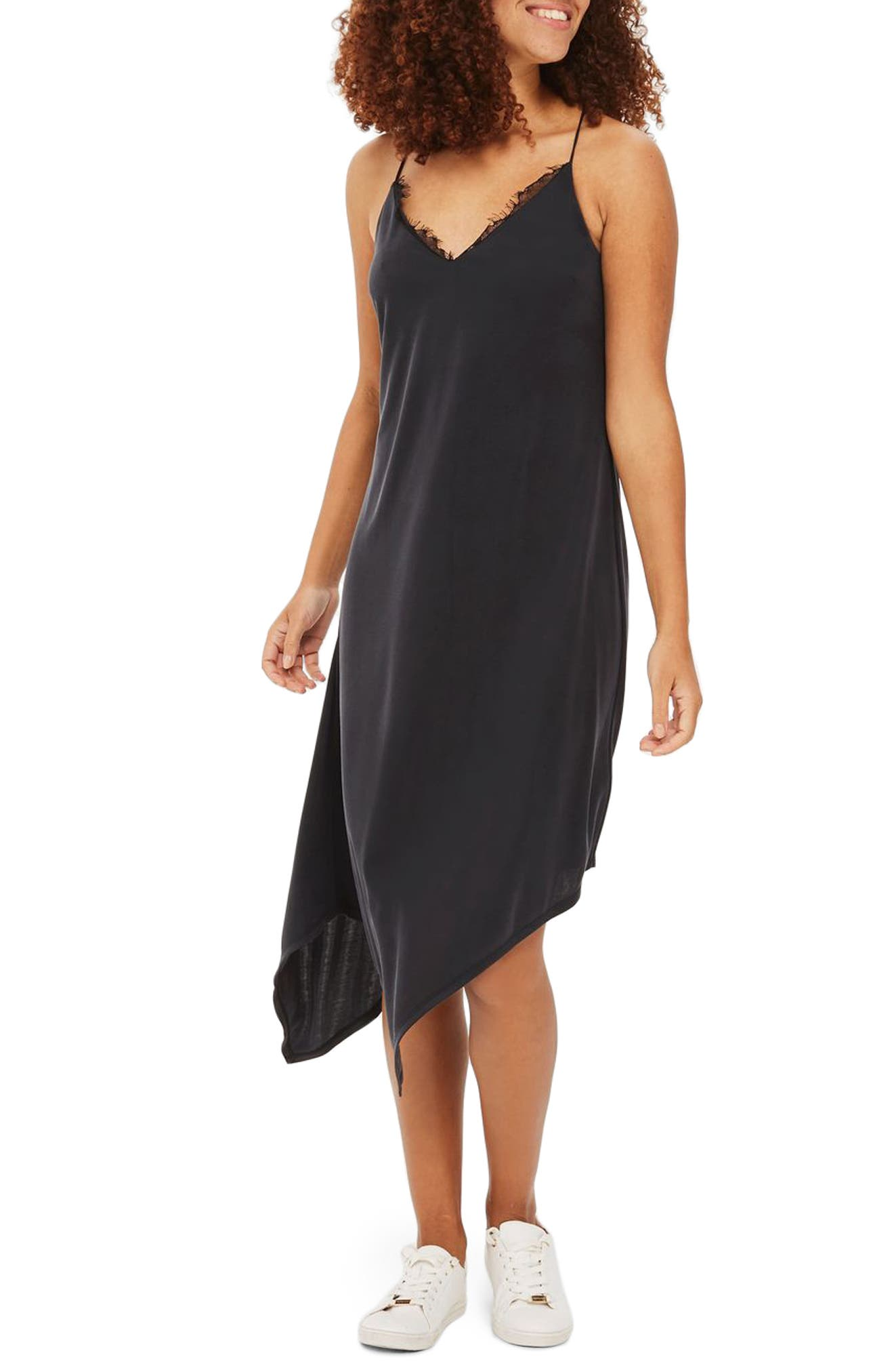 Asymmetrical Slipdress,                         Main,                         color, 001
