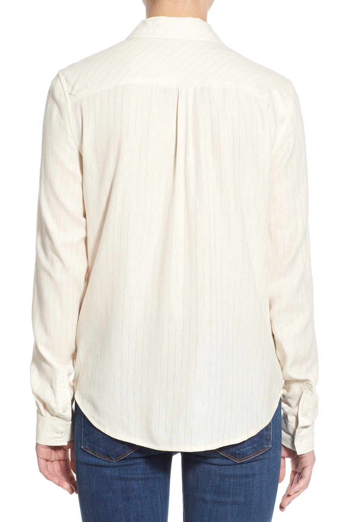Denim 'Mya' Metallic Stripe Shirt,                             Alternate thumbnail 5, color,                             100