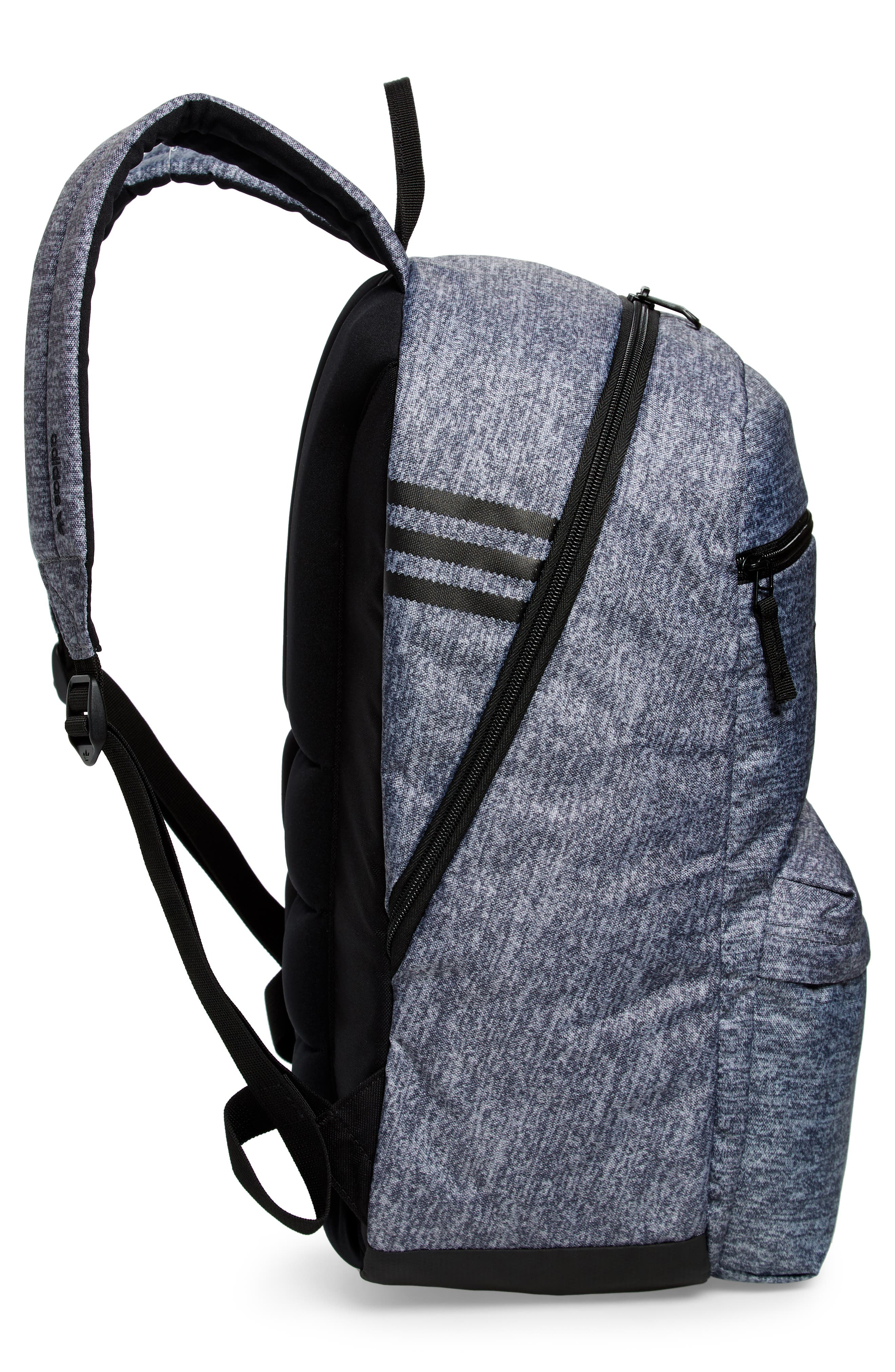 adidas Original National Backpack,                             Alternate thumbnail 5, color,                             ONYX JERSEY/ BLACK