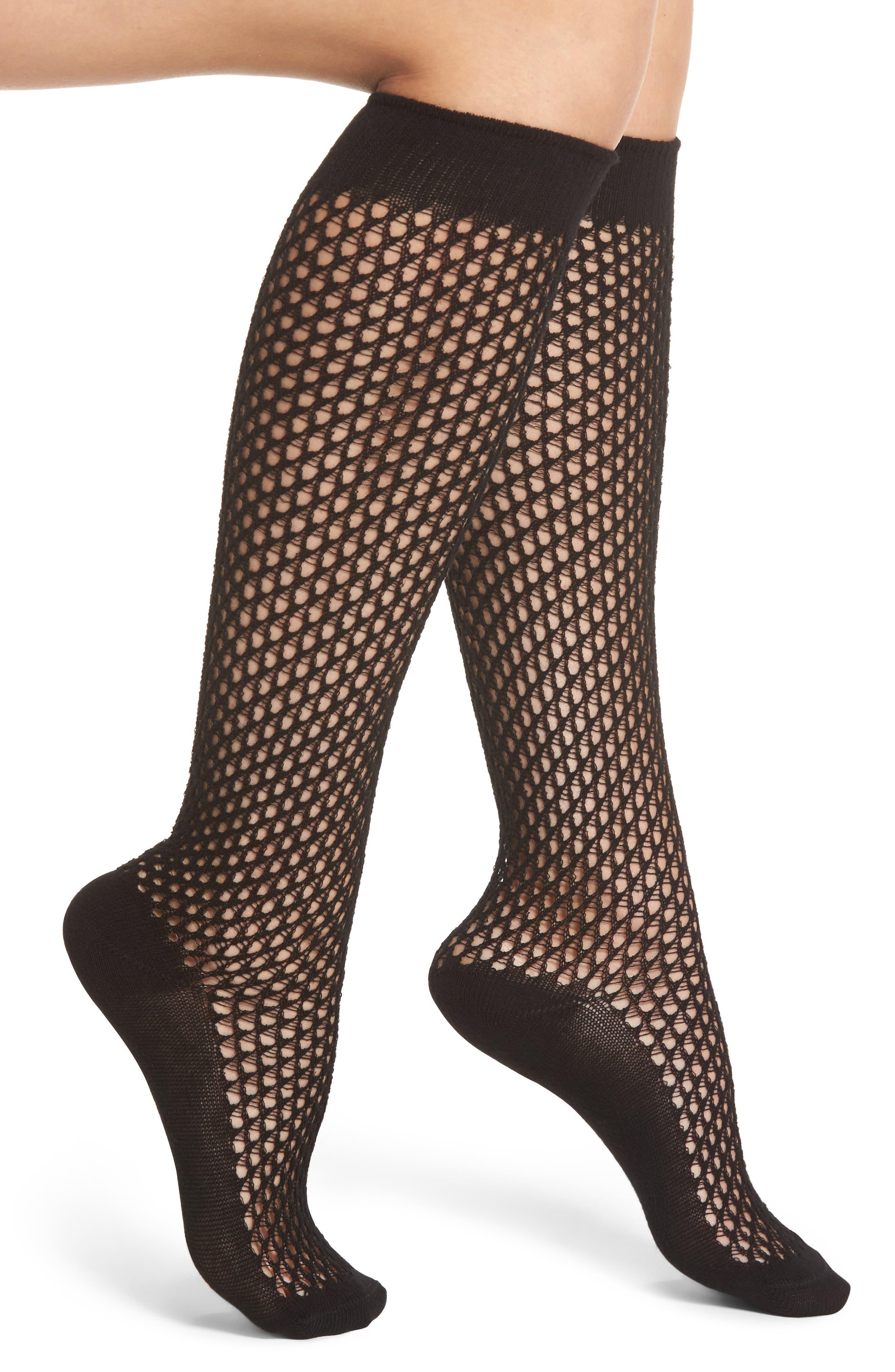 Gabmaletto Fishnet Knee High Socks,                             Main thumbnail 1, color,                             001