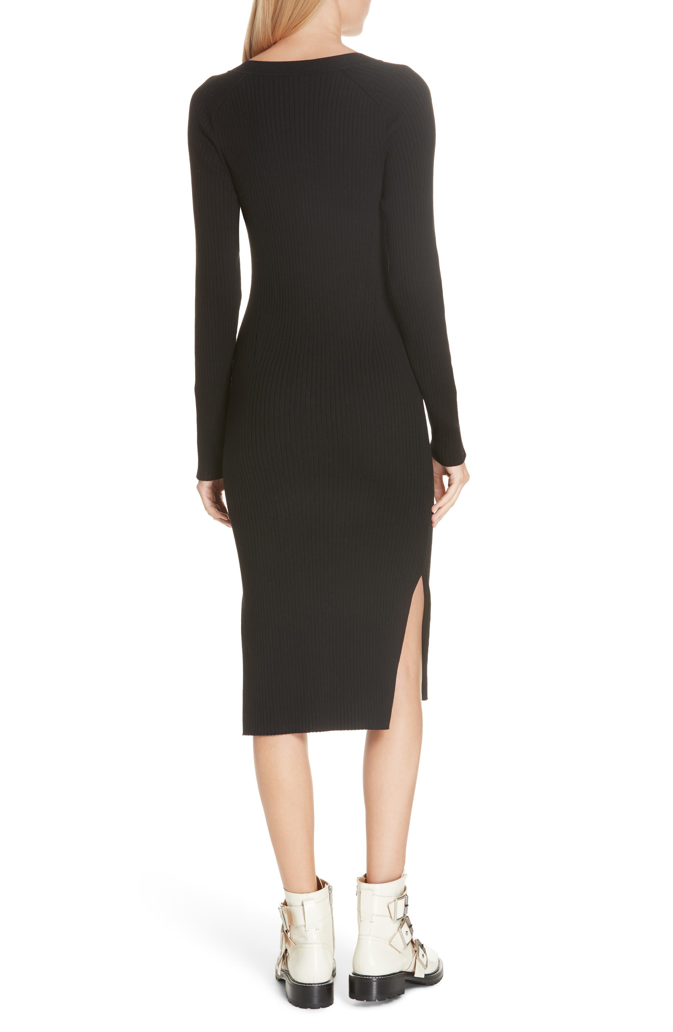 RAG & BONE,                             Brynn Rib Knit Dress,                             Alternate thumbnail 2, color,                             BLACK