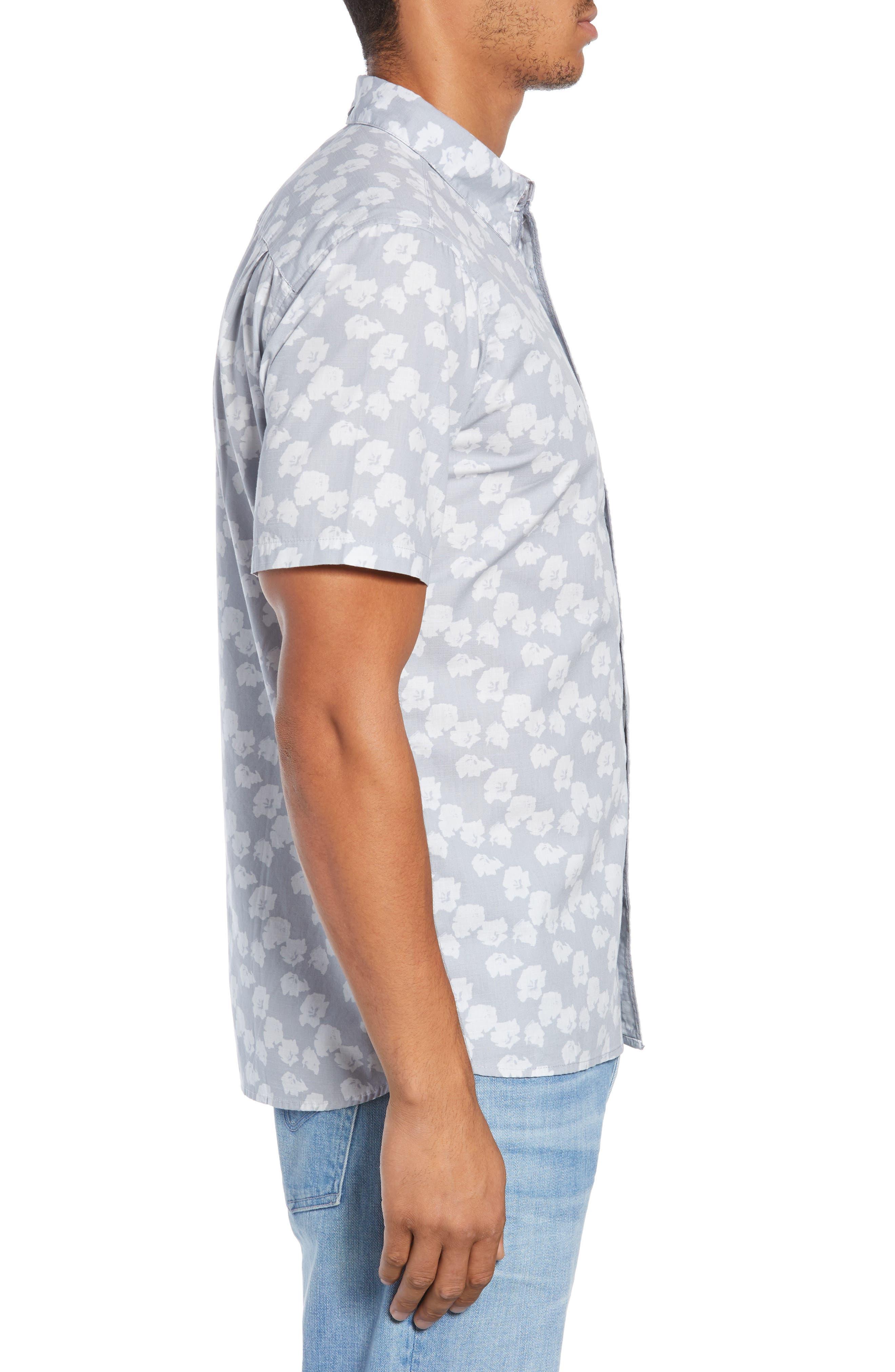 Beachside Swarm Print Woven Shirt,                             Alternate thumbnail 4, color,                             WOLF GREY