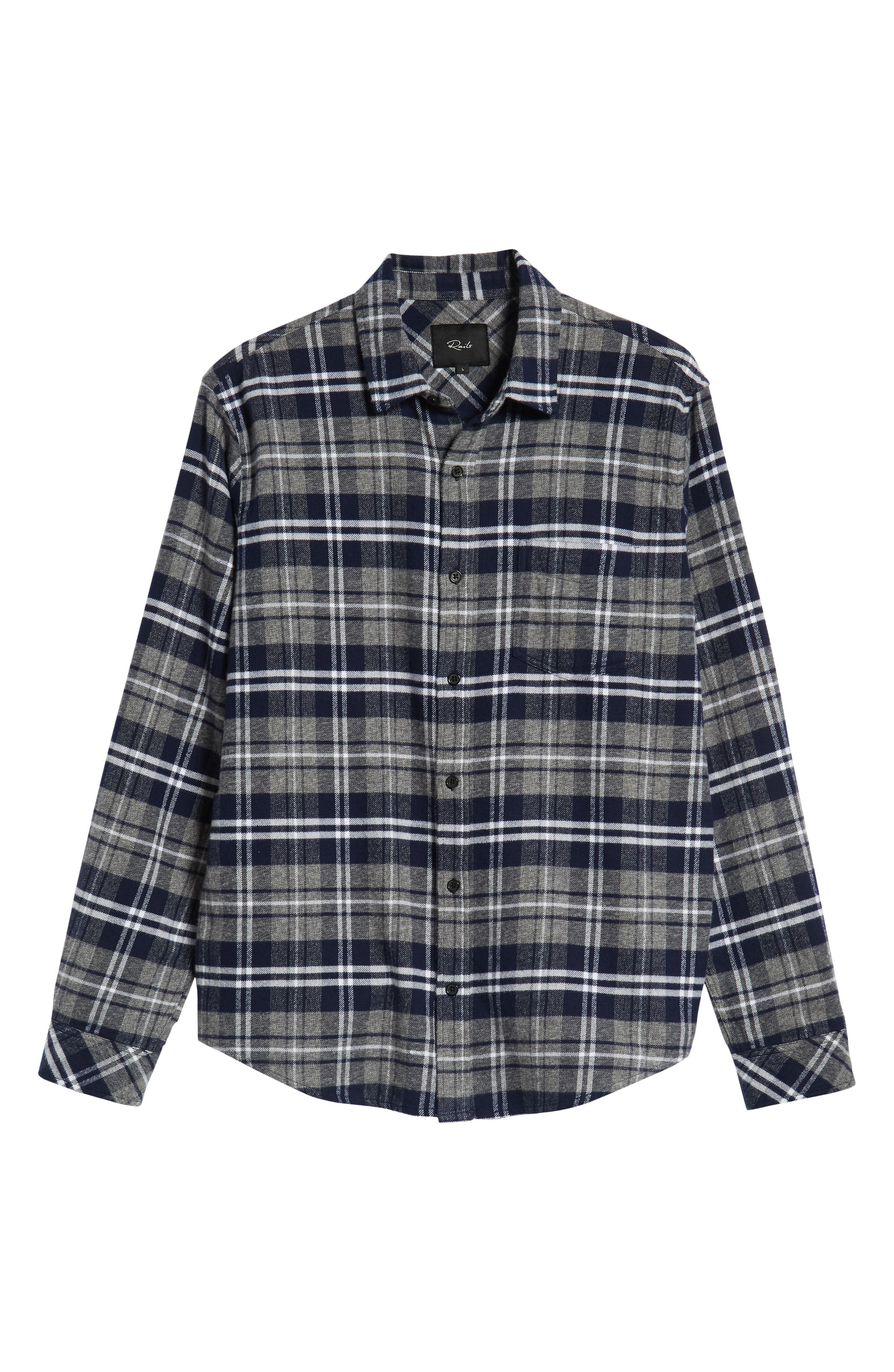 Forrest Slim Fit Plaid Flannel Sport Shirt,                             Alternate thumbnail 5, color,                             NAVY/LIGHT GREY/WHITE