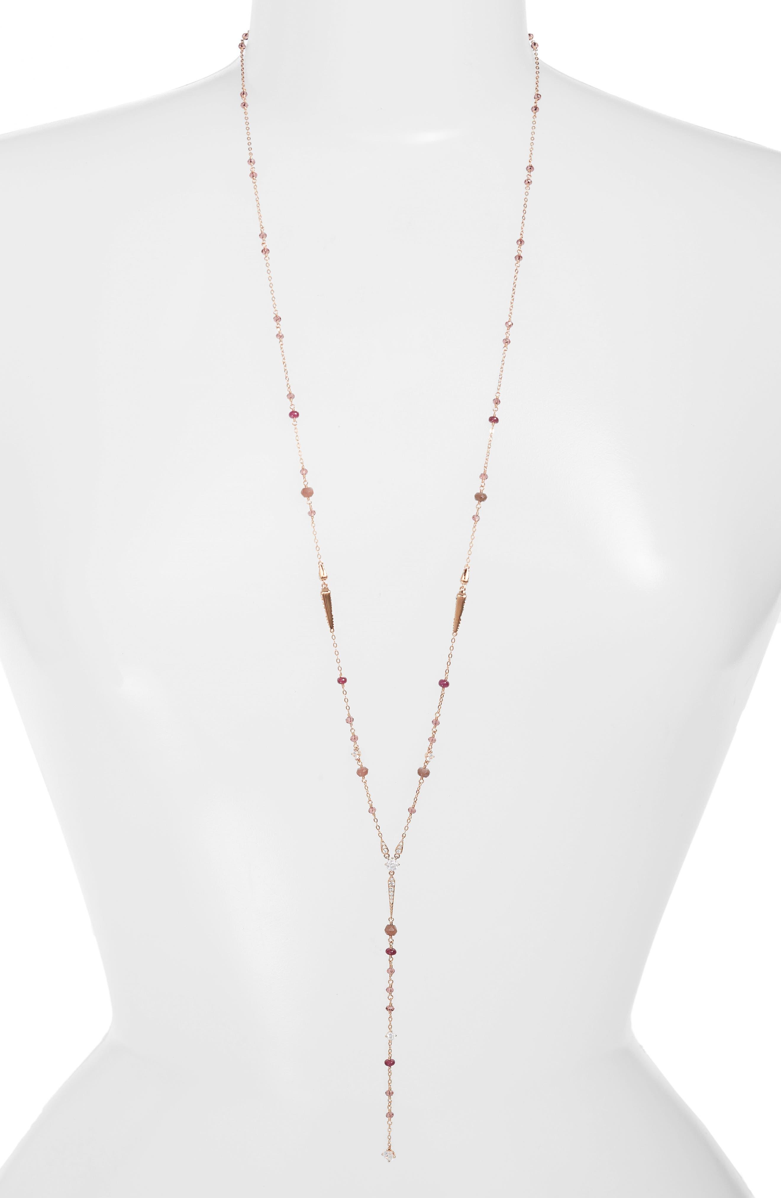 Crystal & Stone Y-Necklace,                         Main,                         color, 600