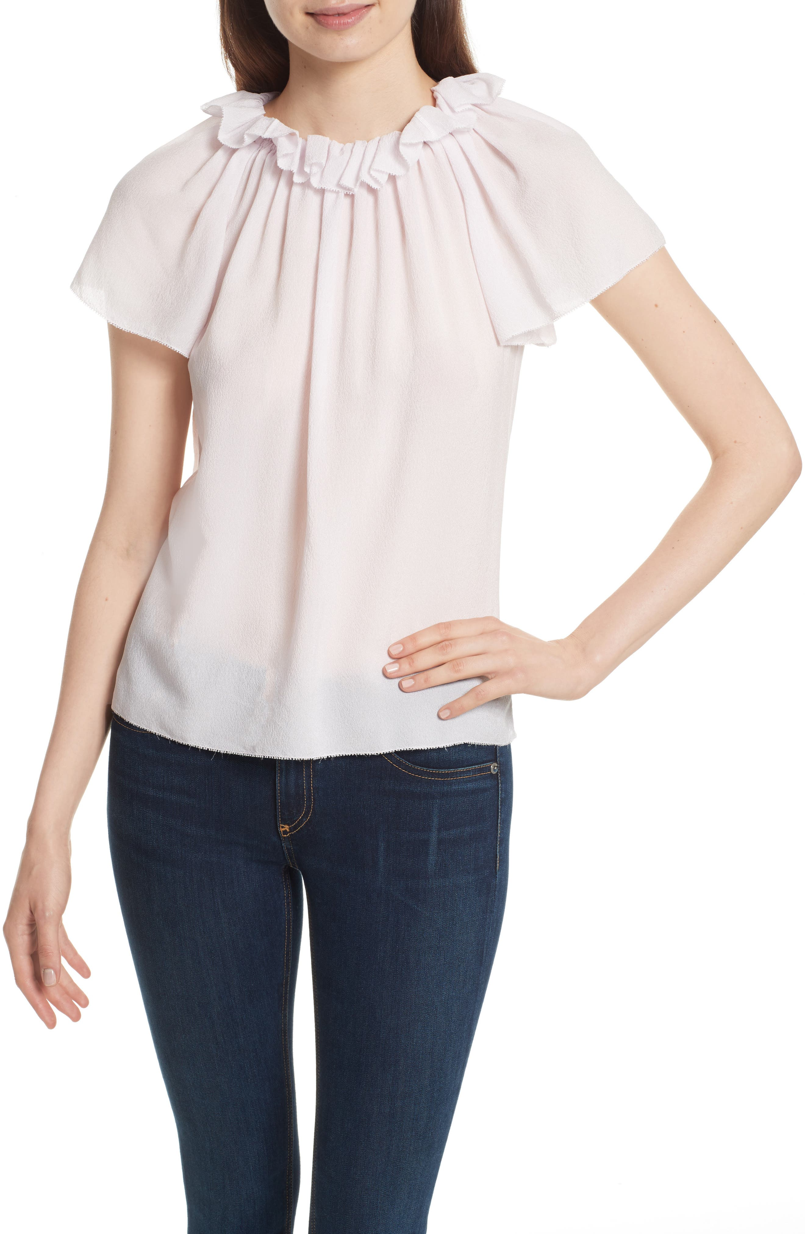 Ruffle Neck Silk Top,                             Main thumbnail 1, color,                             510