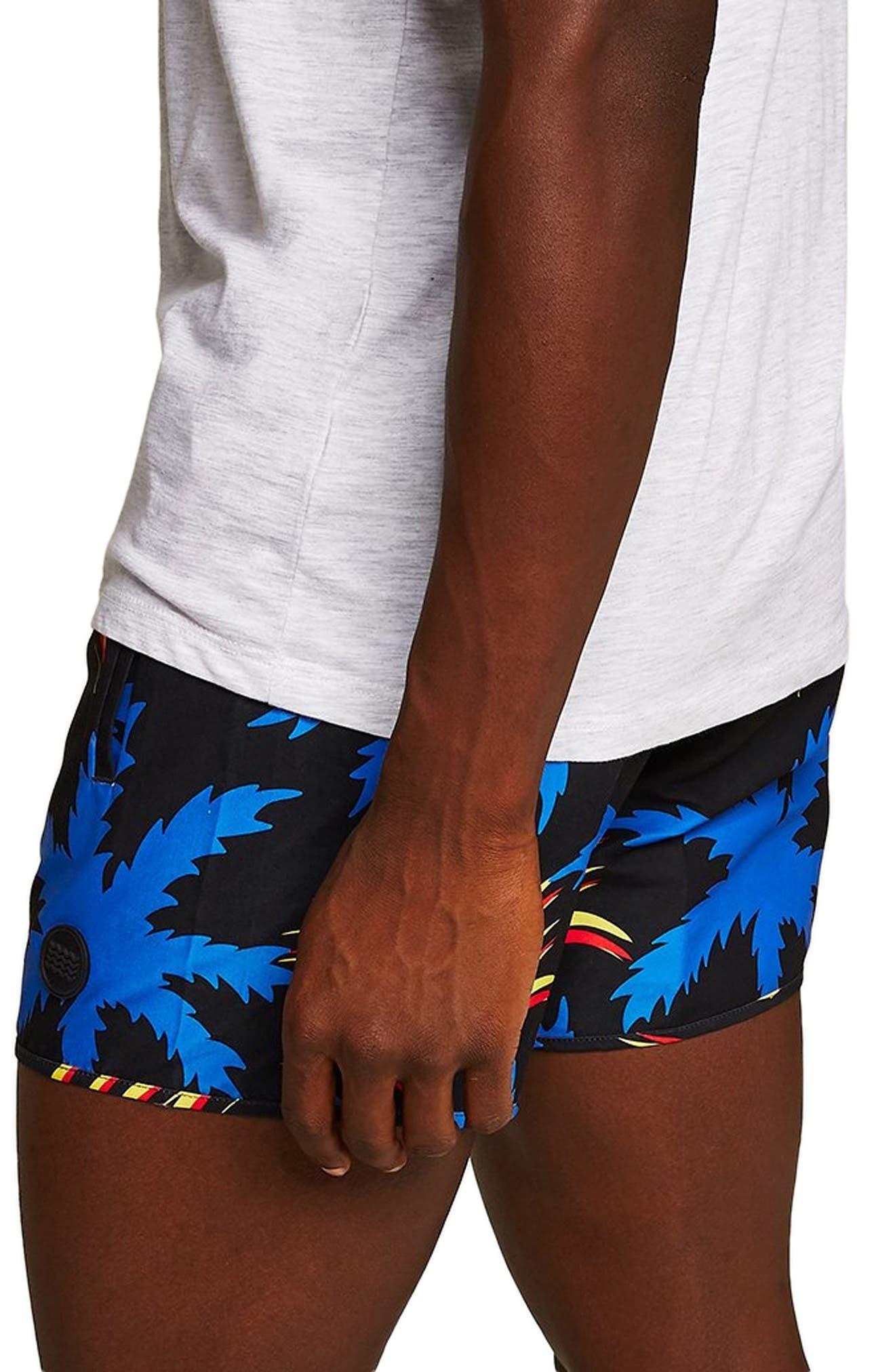 Palm Munday Print Swim Trunks,                             Alternate thumbnail 4, color,                             001