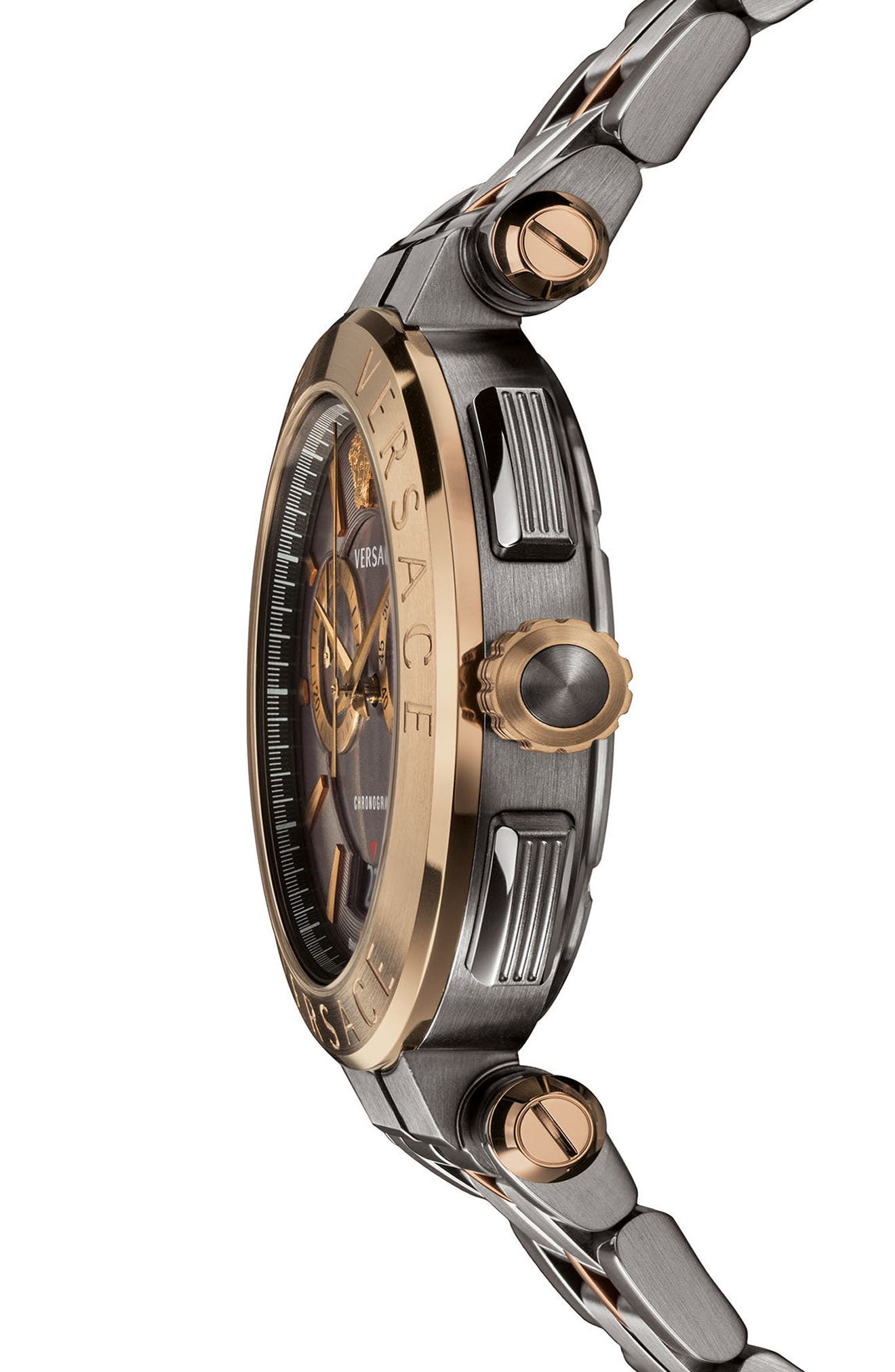 Aion Chronograph Bracelet Watch, 45mm,                             Alternate thumbnail 3, color,                             GUNMETAL/ BLACK/ BRONZE
