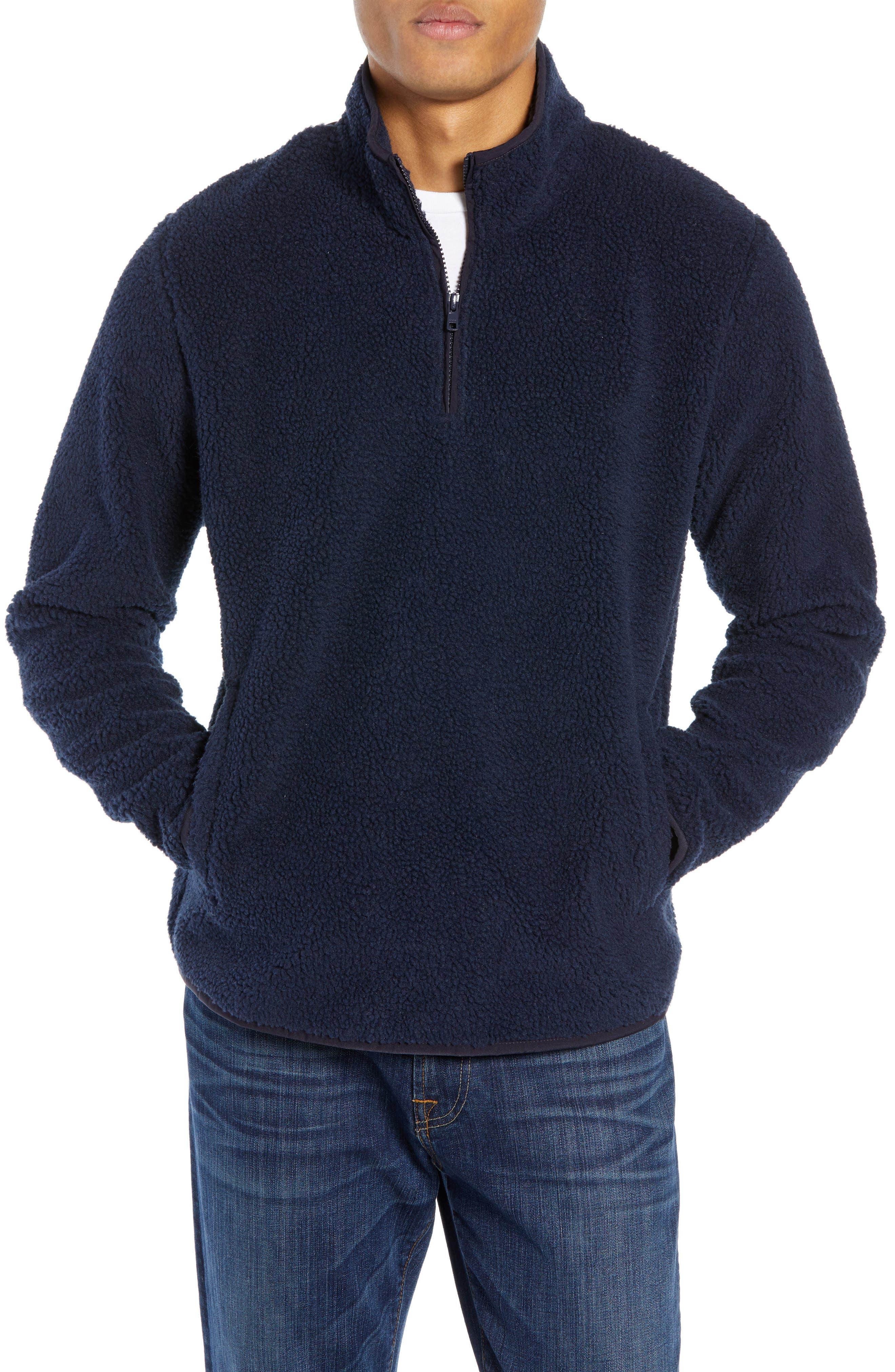 Nordstrom Shop Quarter Zip Fleece Pullover, Blue