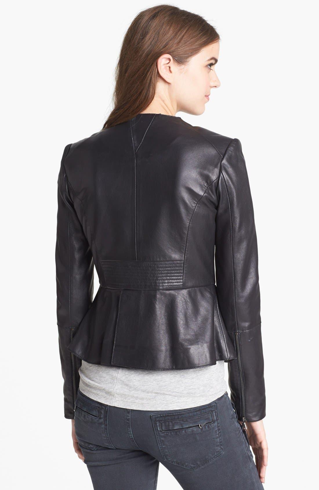 Leather Peplum Jacket,                             Alternate thumbnail 2, color,                             001