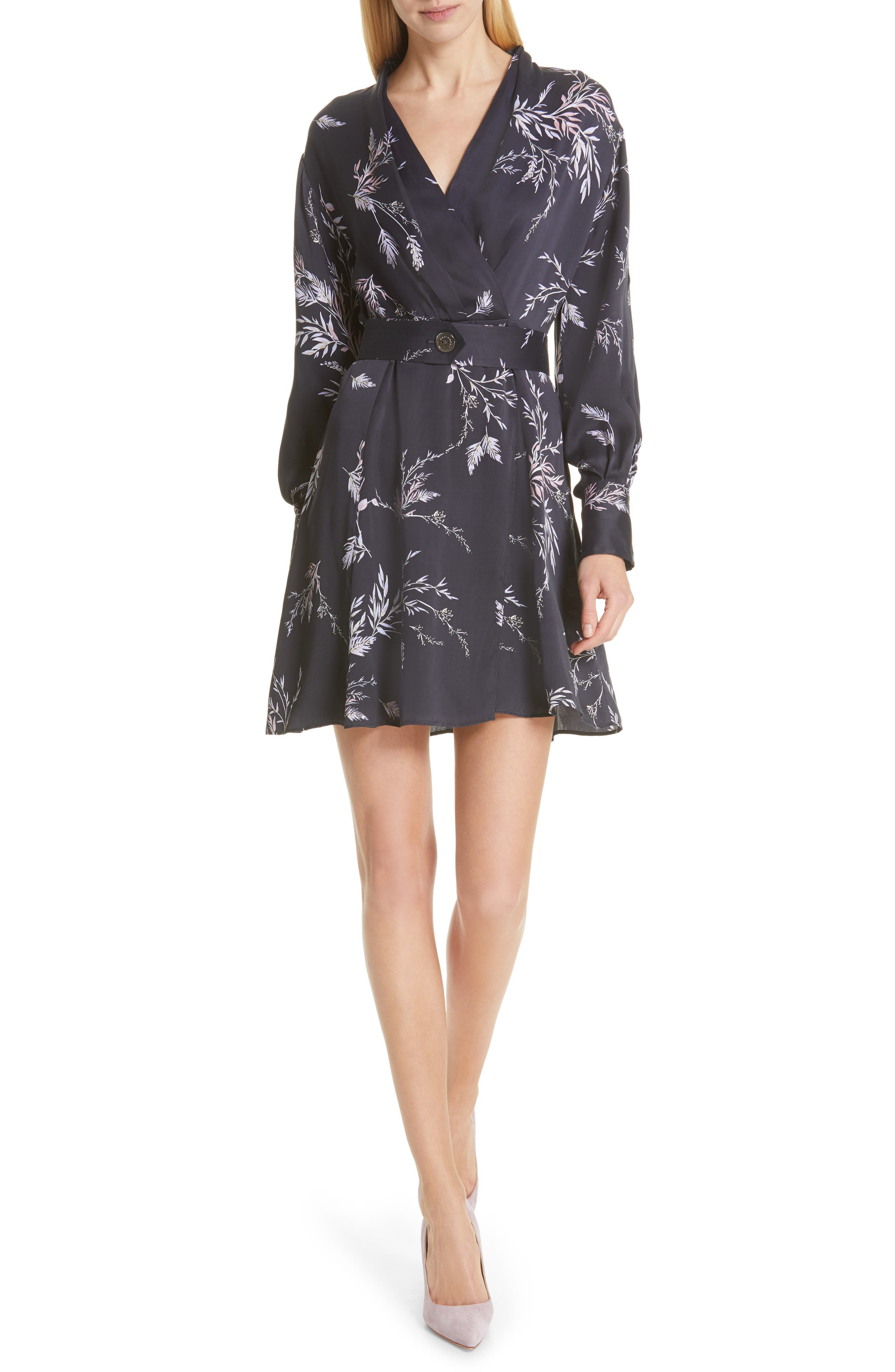 Equipment Fanetta Belted Faux Wrap Dress, Black