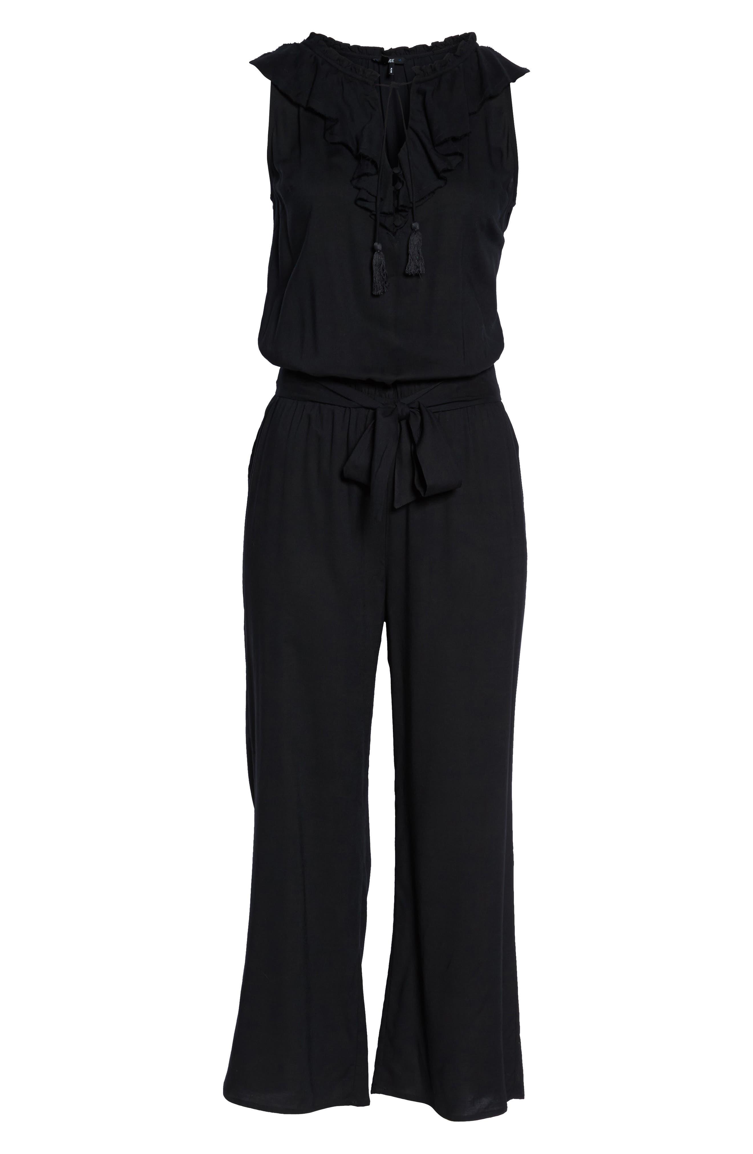 Paletta Ruffle Neck Jumpsuit,                             Alternate thumbnail 6, color,                             BLACK