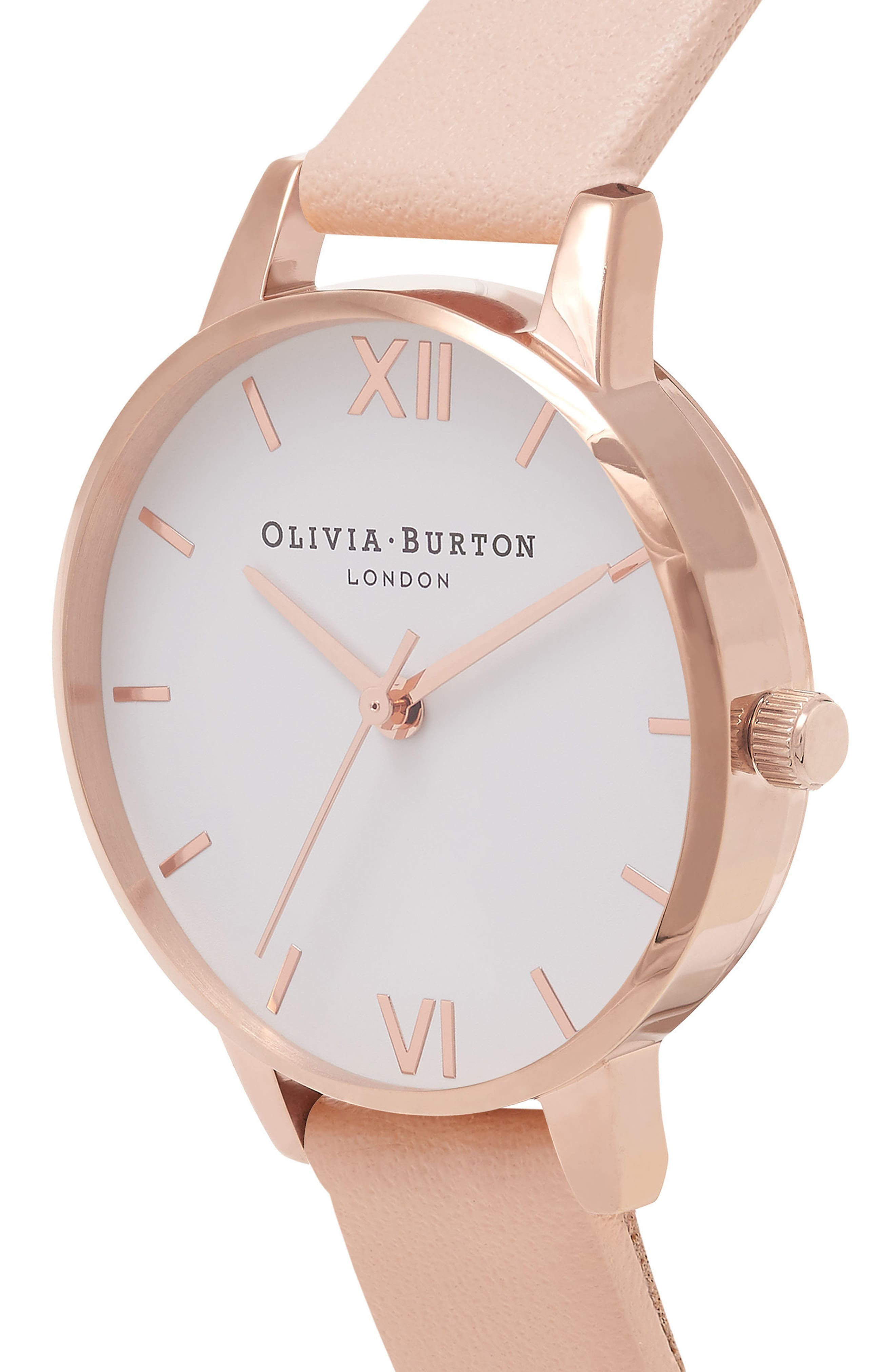 Midi Dial Leather Strap Watch, 30mm,                             Alternate thumbnail 3, color,                             NUDE PEACH/ WHITE/ ROSE GOLD