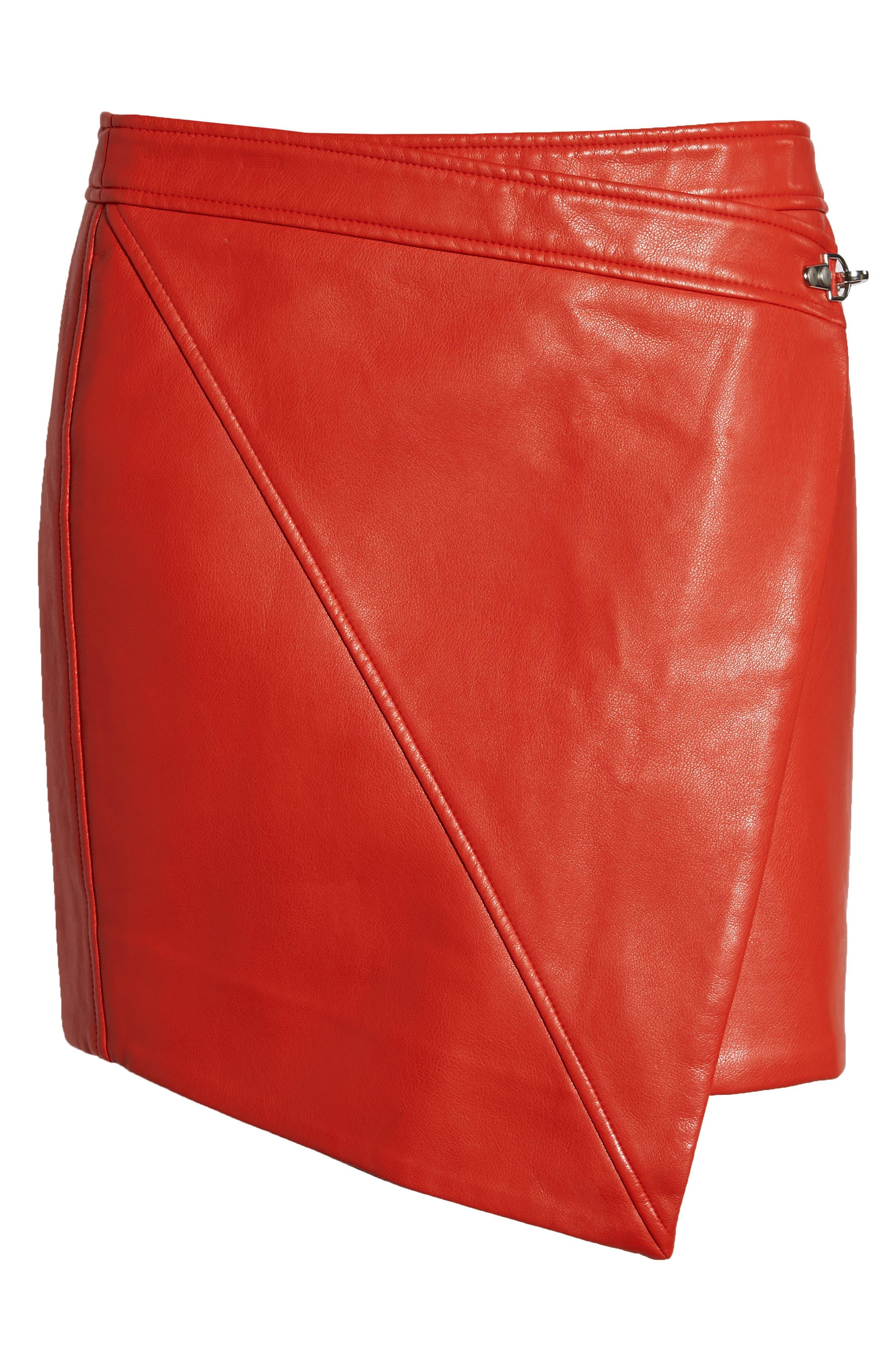 BLANKNYC,                             Asymmetrical Latch Detail Vegan Leather Miniskirt,                             Alternate thumbnail 6, color,                             SAFE WORD