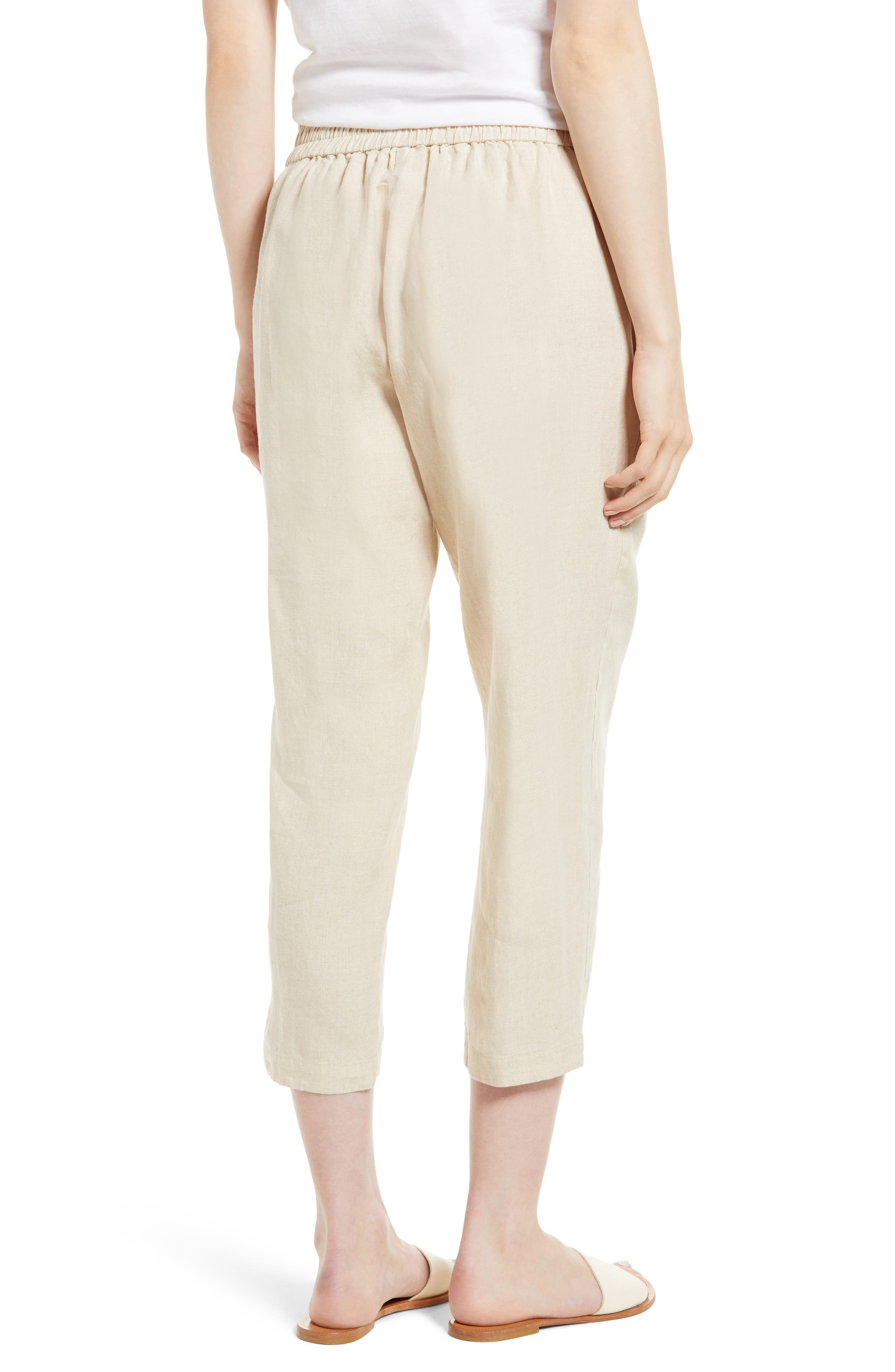Organic Linen Crop Pants,                             Alternate thumbnail 9, color,