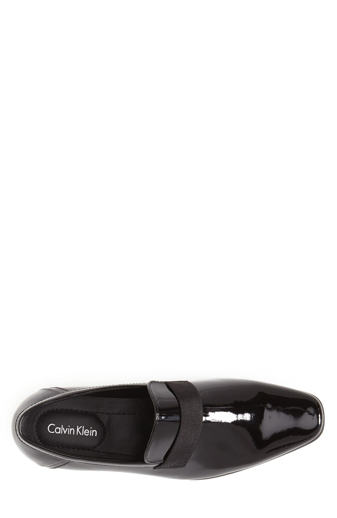 CALVIN KLEIN,                             'Bernard' Venetian Loafer,                             Alternate thumbnail 3, color,                             BLACK