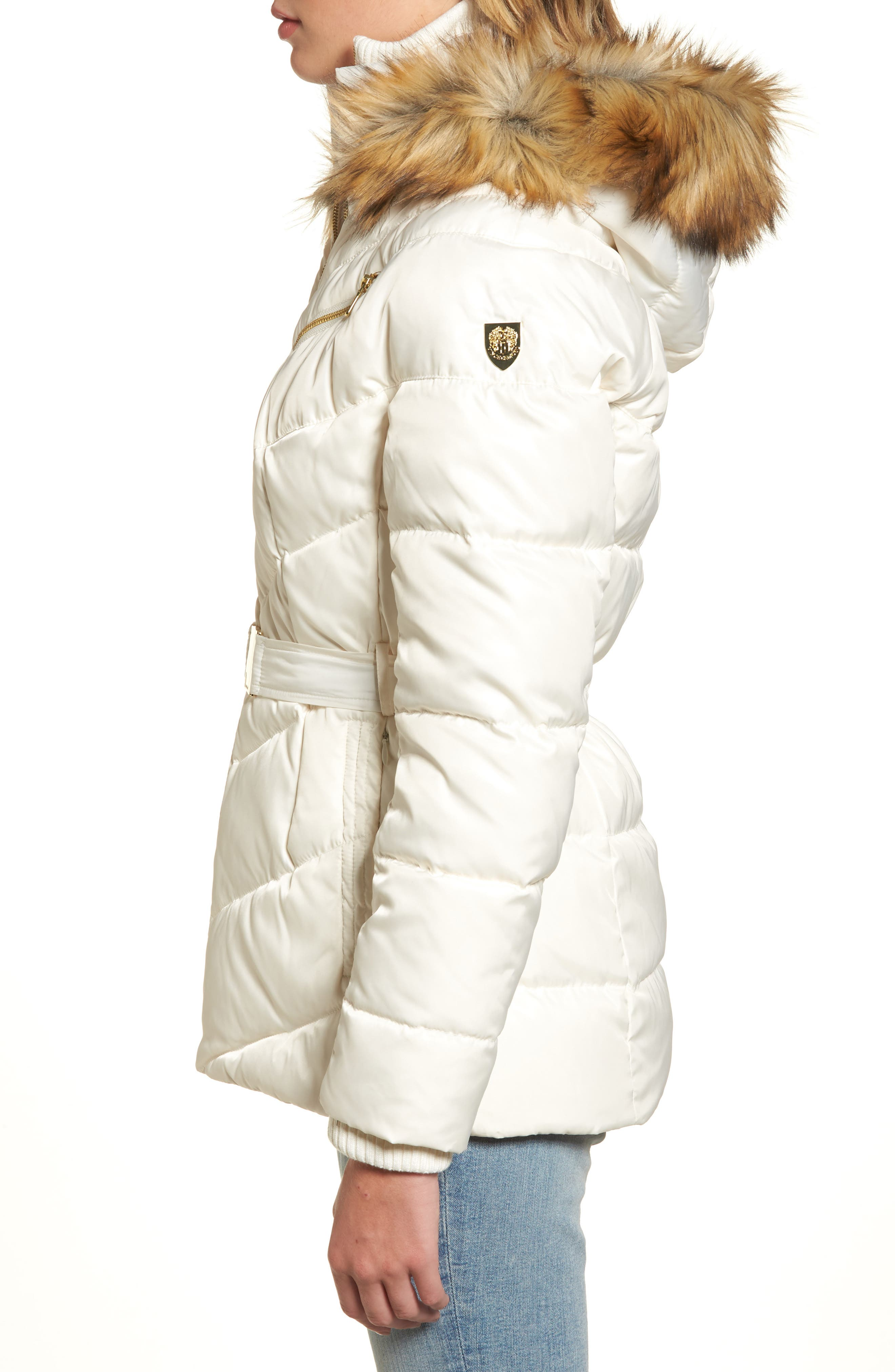 Belted Down & Feather Fill Coat with Faux Fur Trim Hood,                             Alternate thumbnail 10, color,