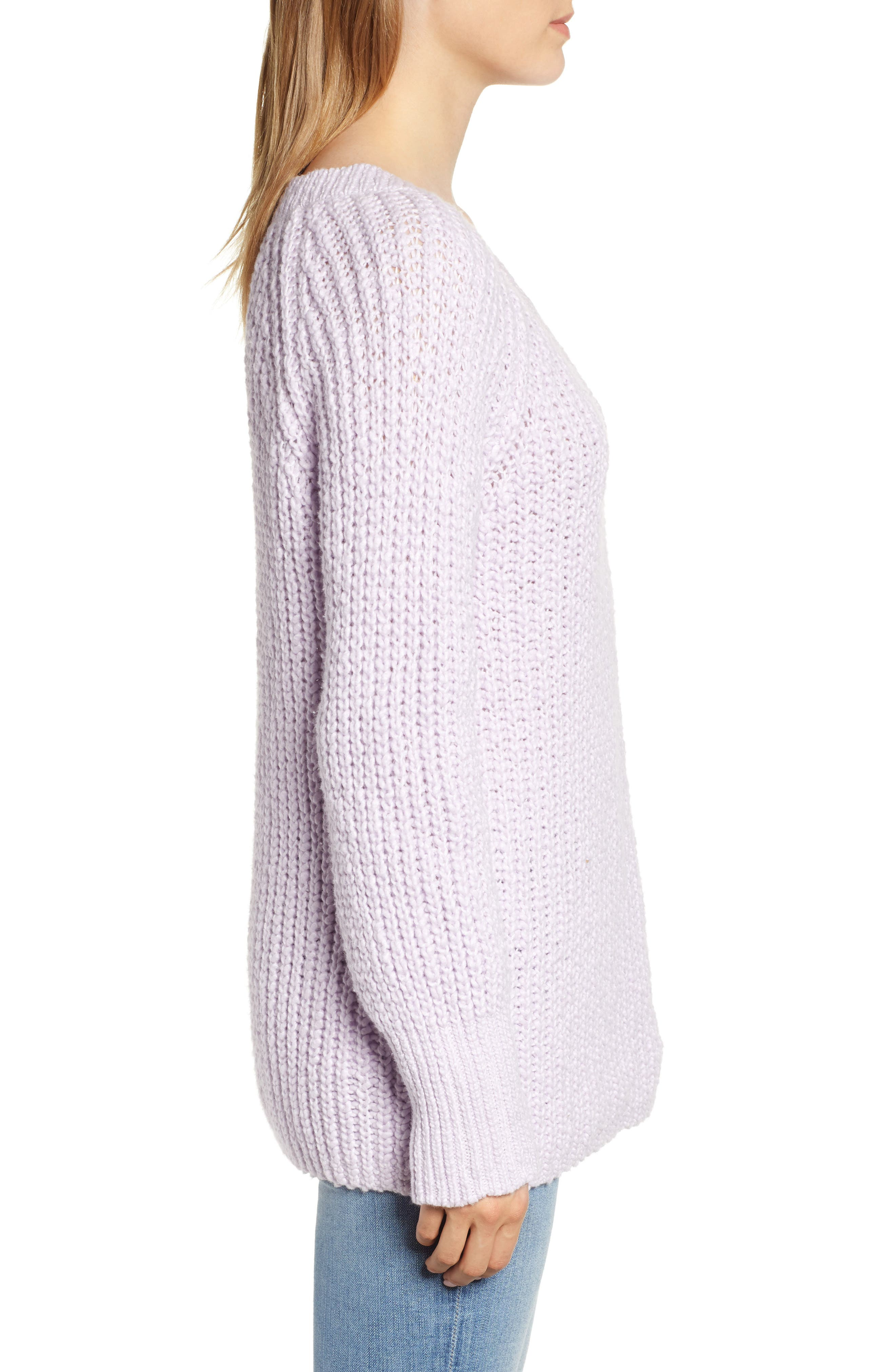 Cozystitch V-Neck Sweater,                             Alternate thumbnail 3, color,                             LILAC