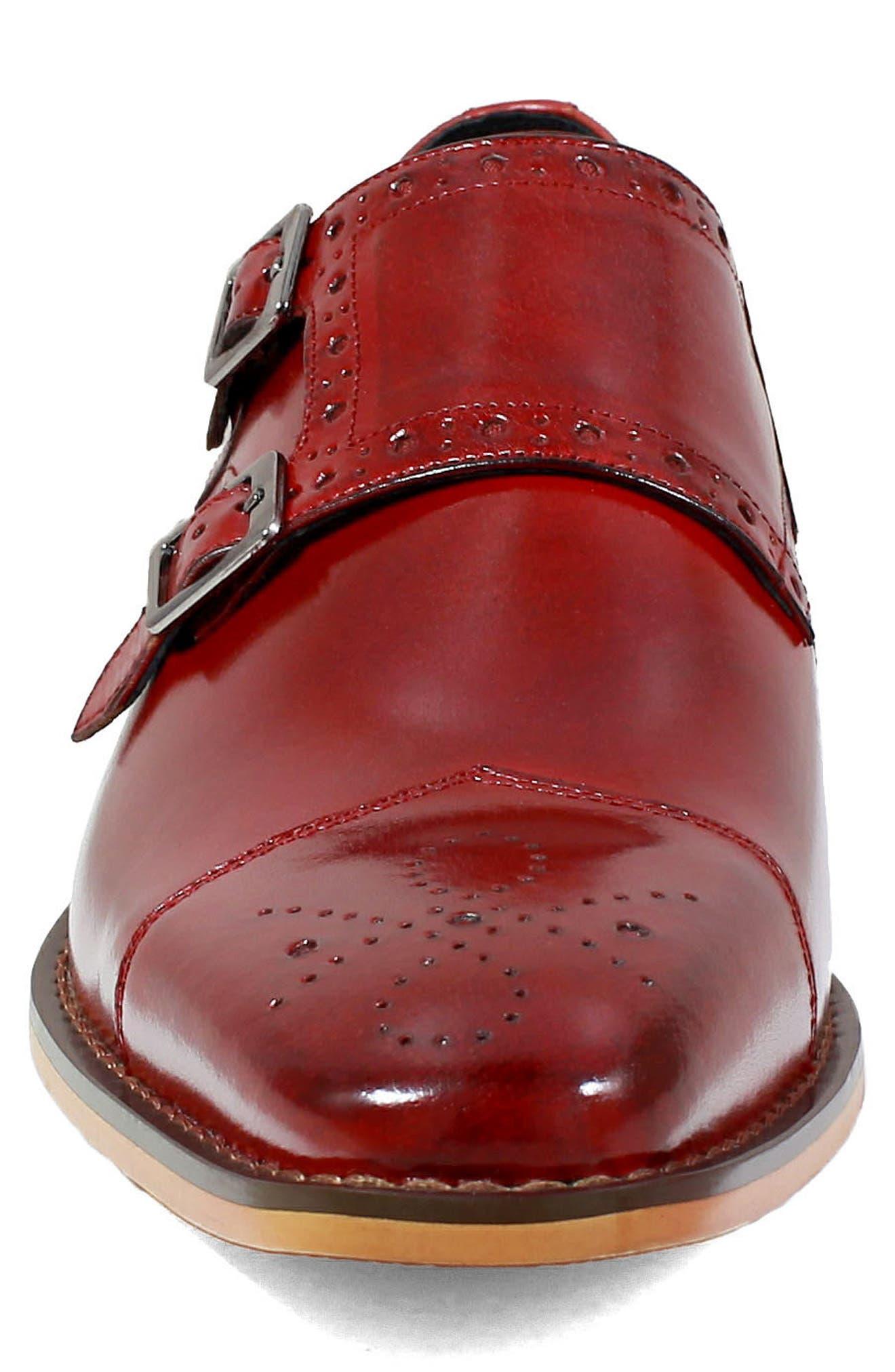 Tayton Cap Toe Double Strap Monk Shoe,                             Alternate thumbnail 4, color,                             RED LEATHER