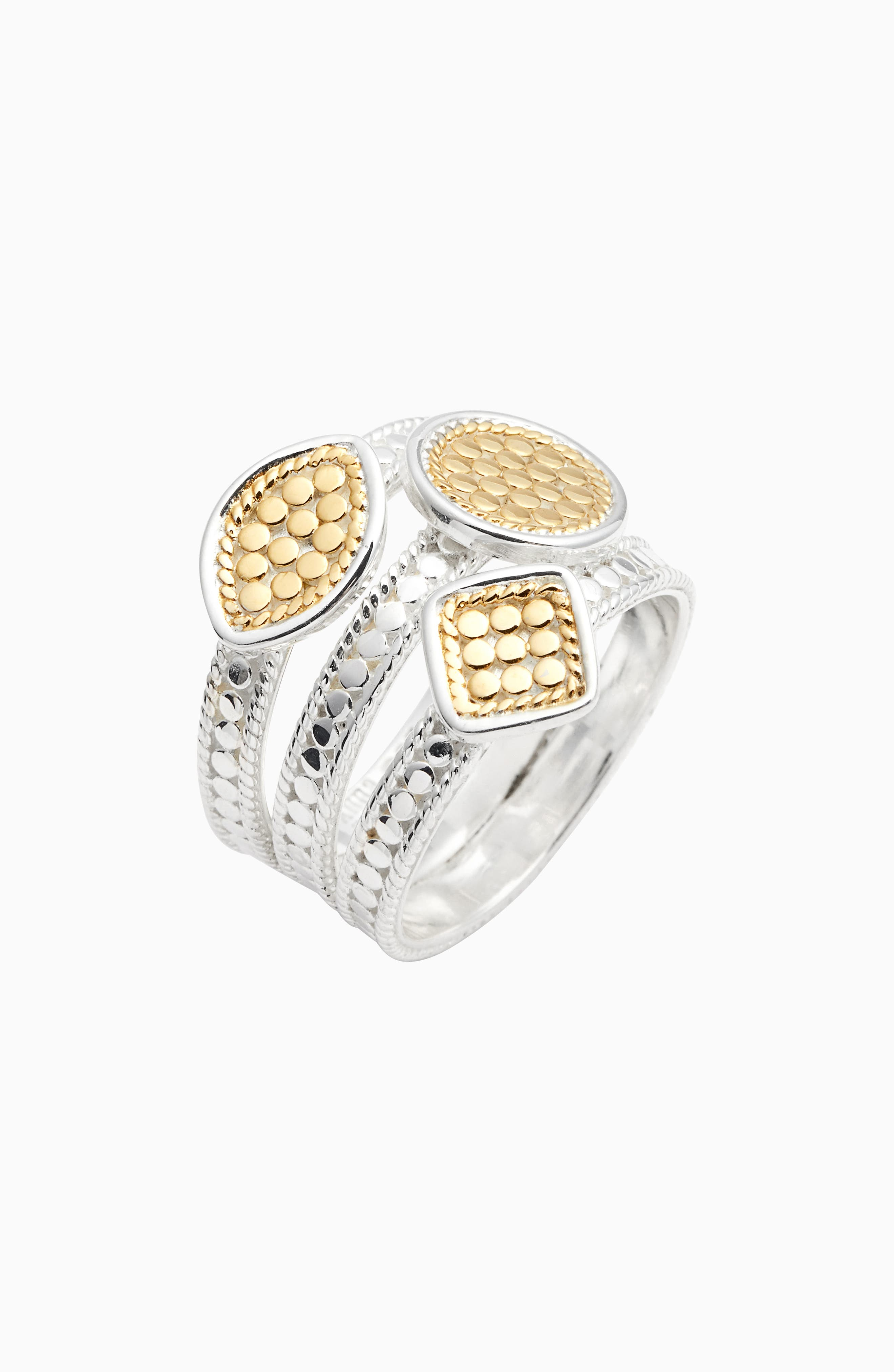 ANNA BECK Triple Faux Stacking Ring in Gold/ Silver