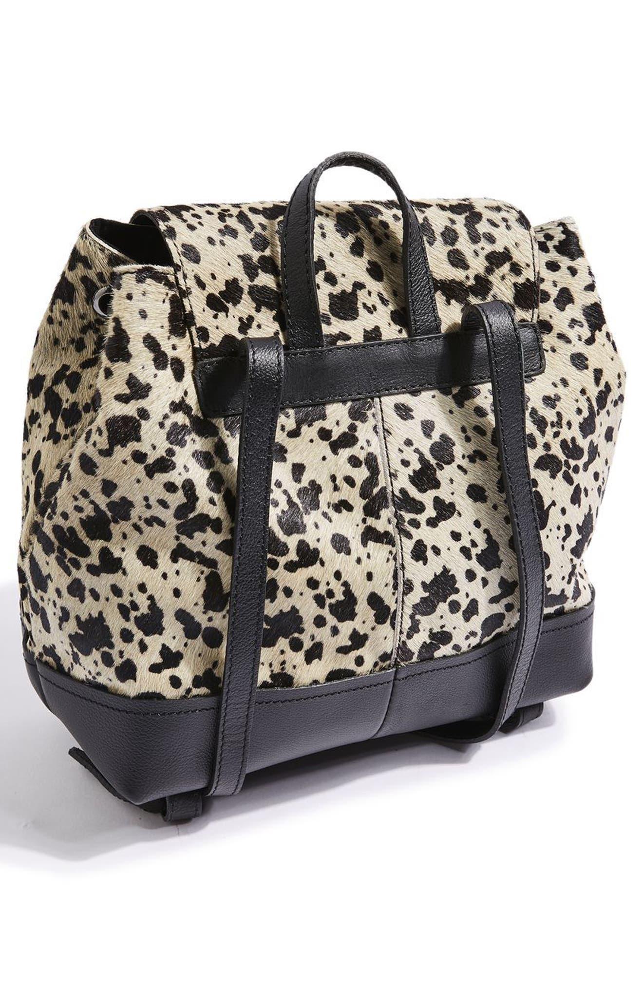 TOPSHOP,                             Premium Leather & Genuine Calf Hair Backpack,                             Alternate thumbnail 2, color,                             100