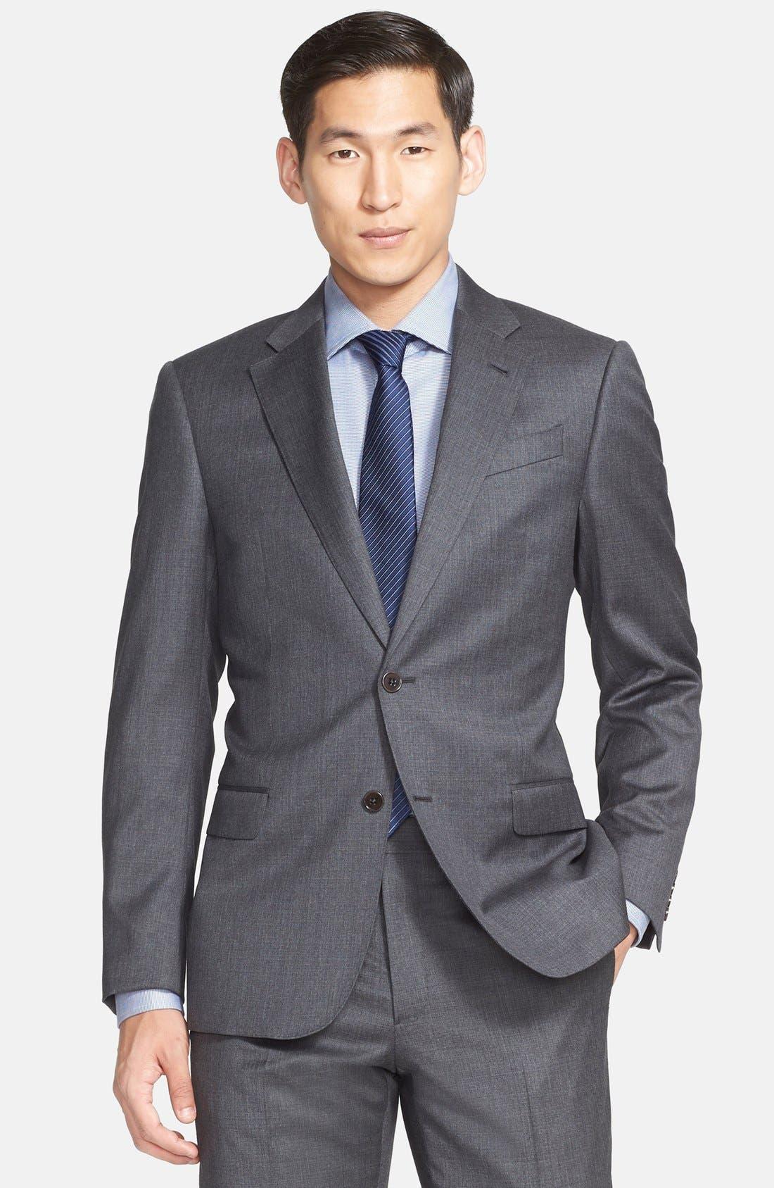 G-Line Trim Fit Solid Wool Suit,                             Alternate thumbnail 6, color,